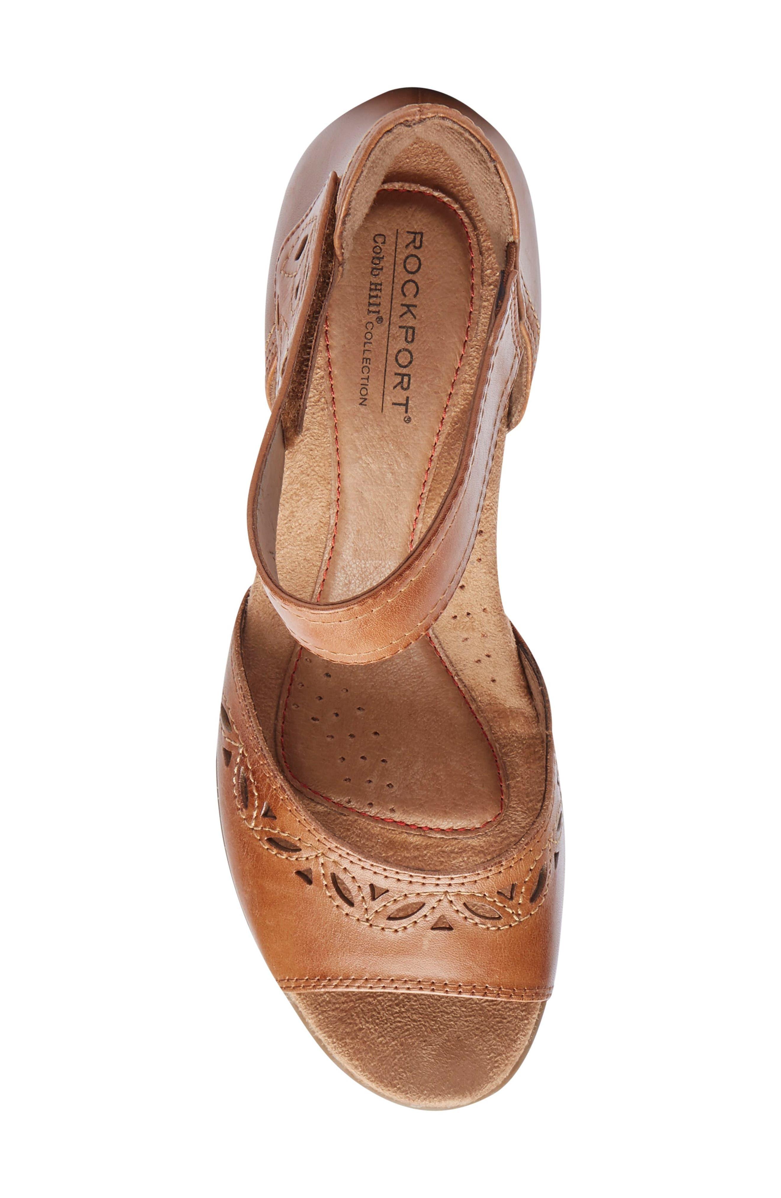 Abbott Perforated Sandal,                             Alternate thumbnail 5, color,                             Tan Leather