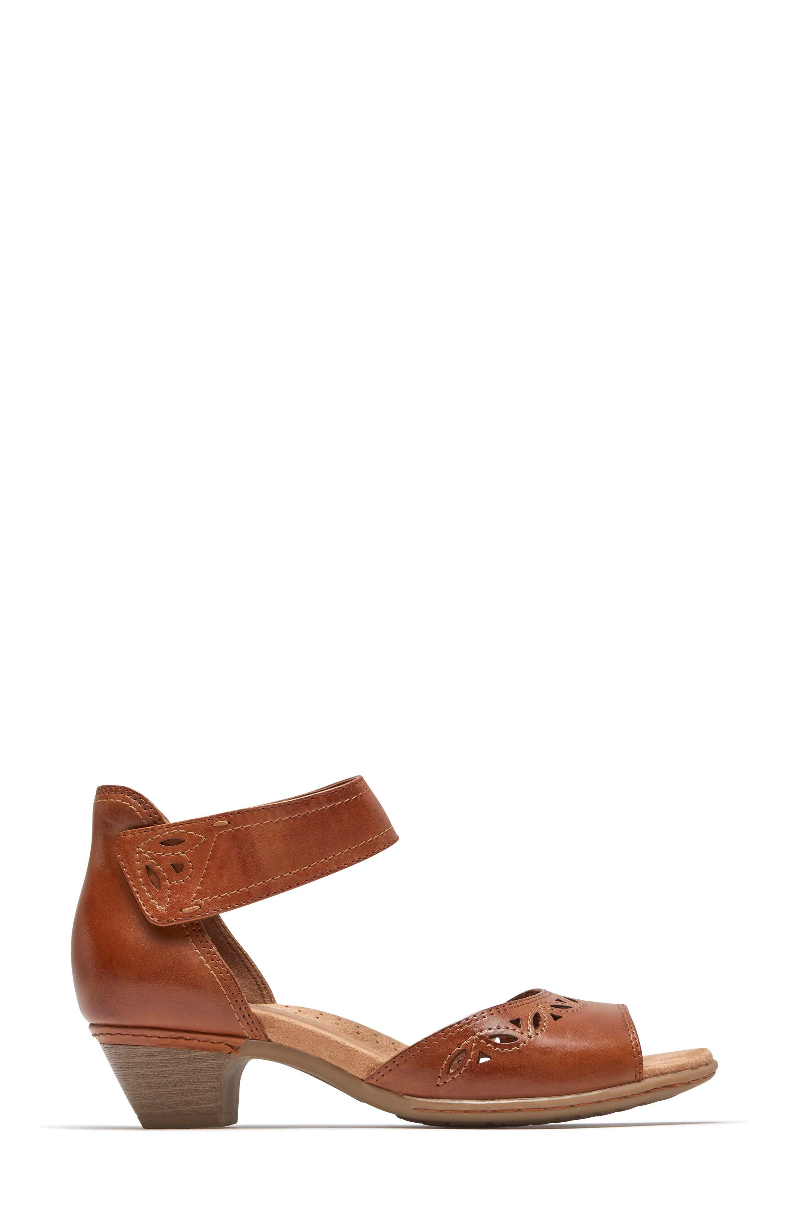 Abbott Perforated Sandal,                             Alternate thumbnail 3, color,                             Tan Leather