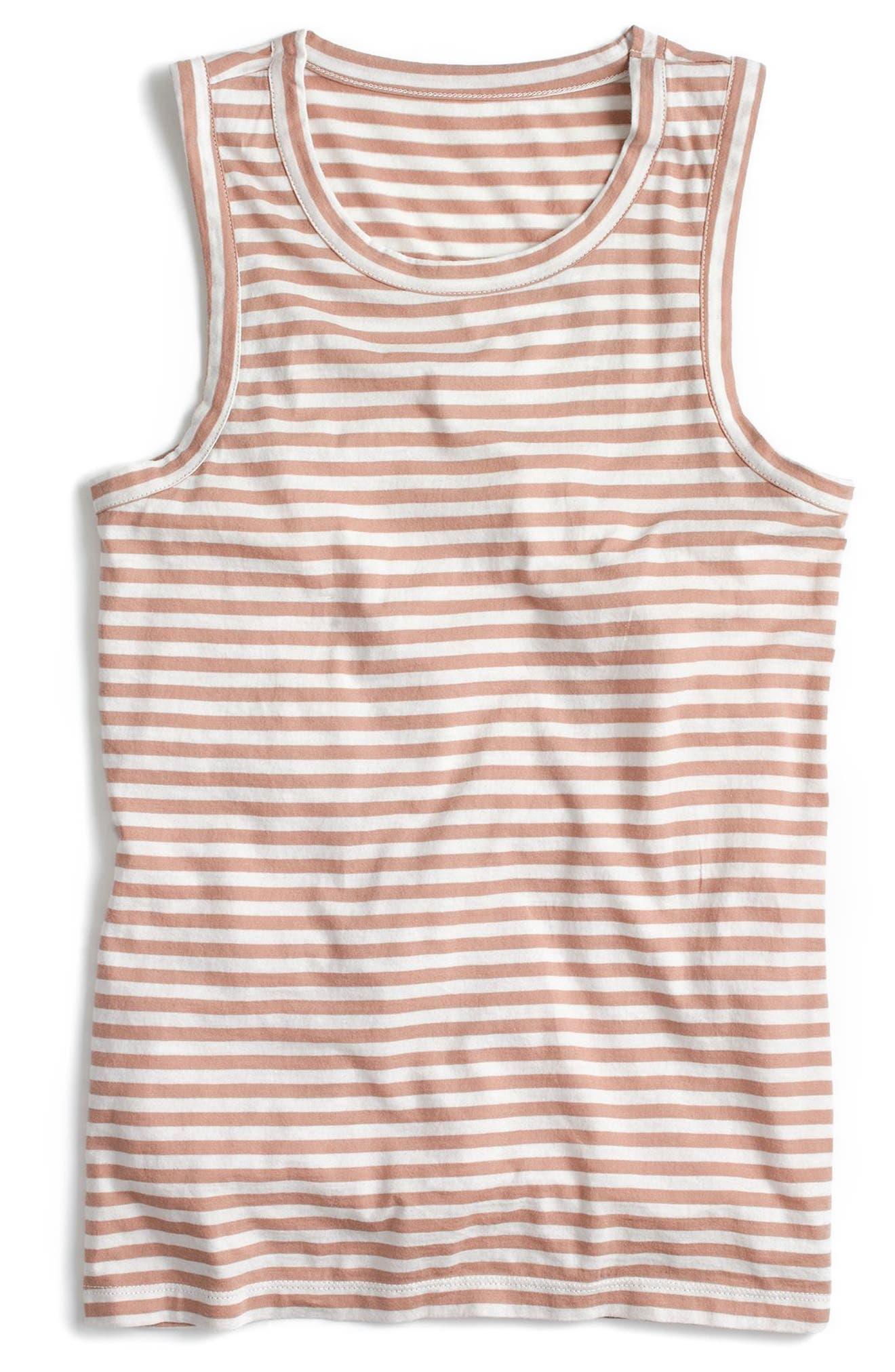 Irene Stripe Muscle Tank,                             Alternate thumbnail 5, color,                             Pale Sepia Ivory