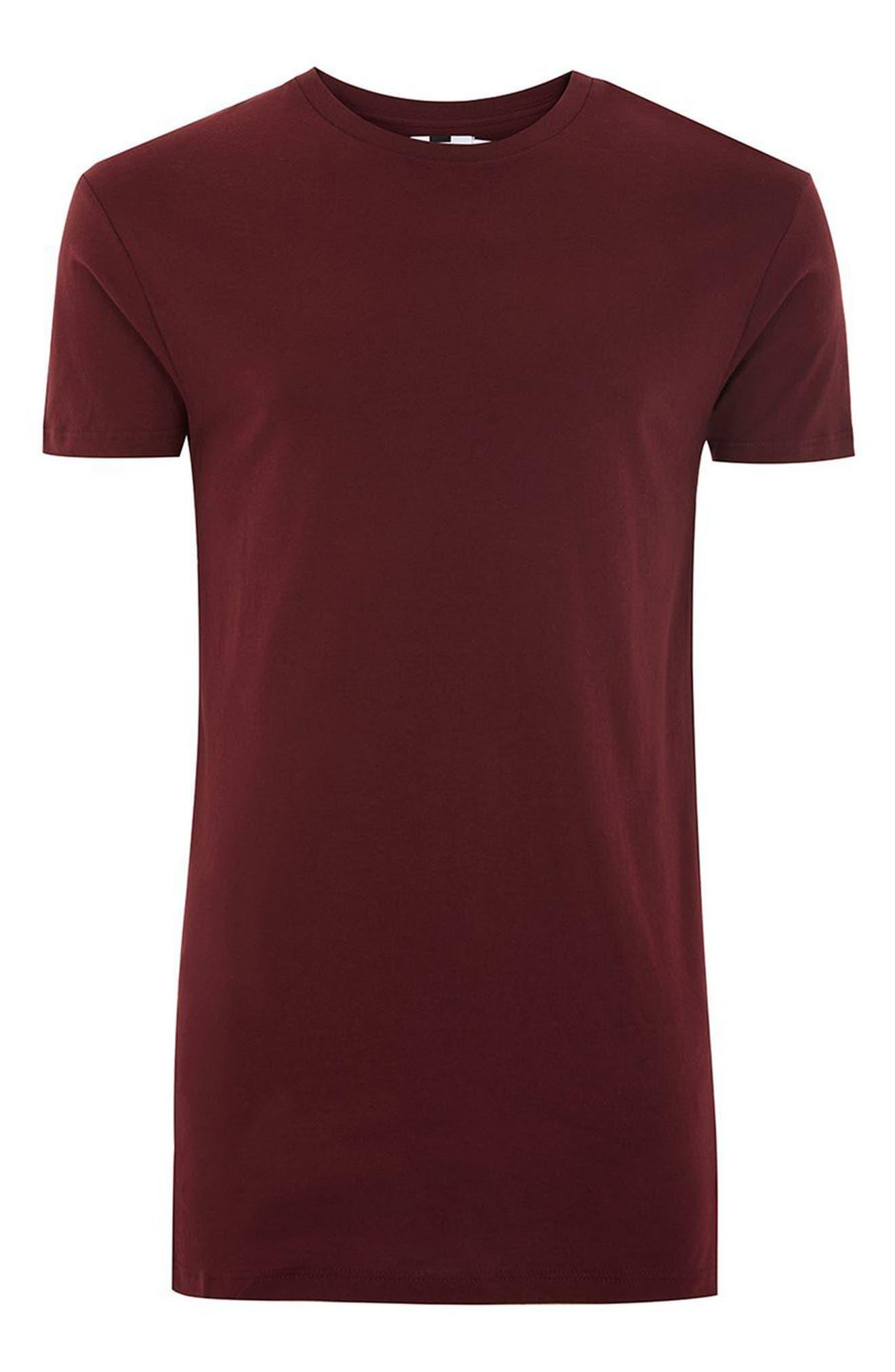 Muscle Fit Longline T-Shirt,                             Alternate thumbnail 4, color,                             Burgundy