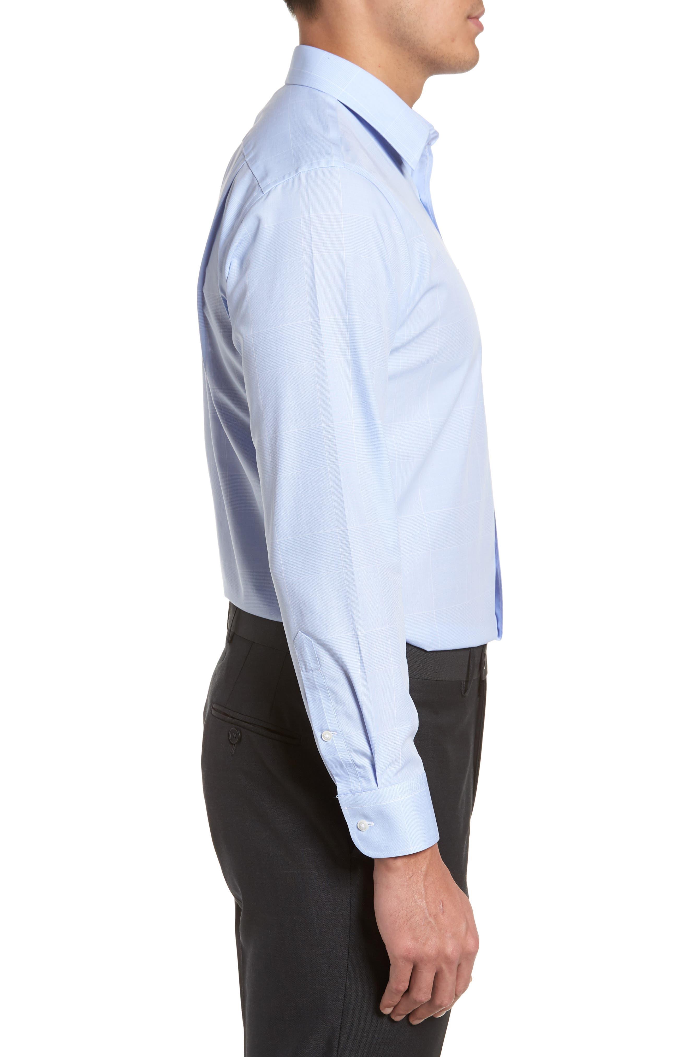 Smartcare<sup>™</sup> Trim Fit Plaid Dress Shirt,                             Alternate thumbnail 4, color,                             Blue Hydrangea