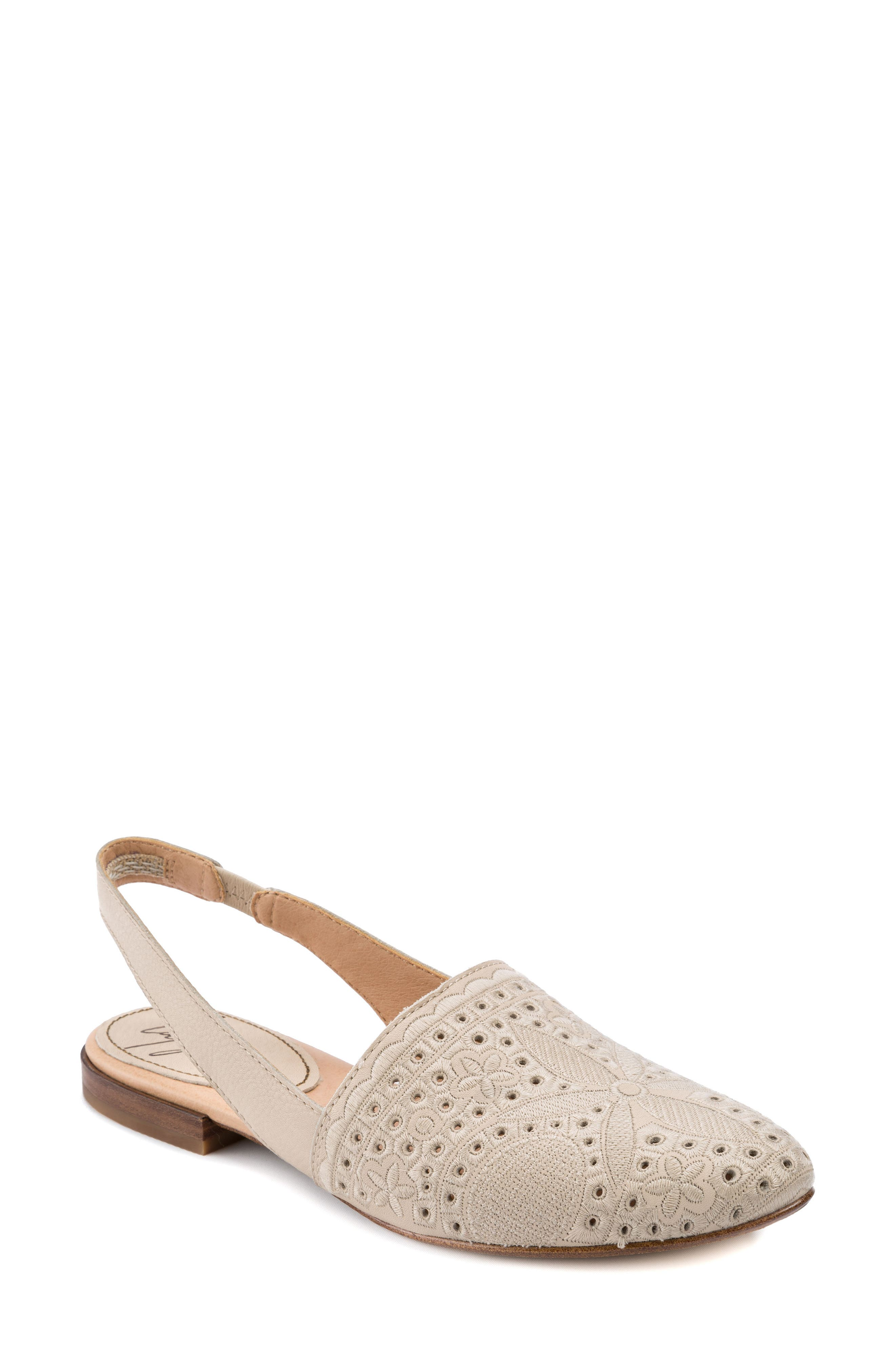 Ulu Embroidered Slingback Flat,                             Main thumbnail 1, color,                             Champagne