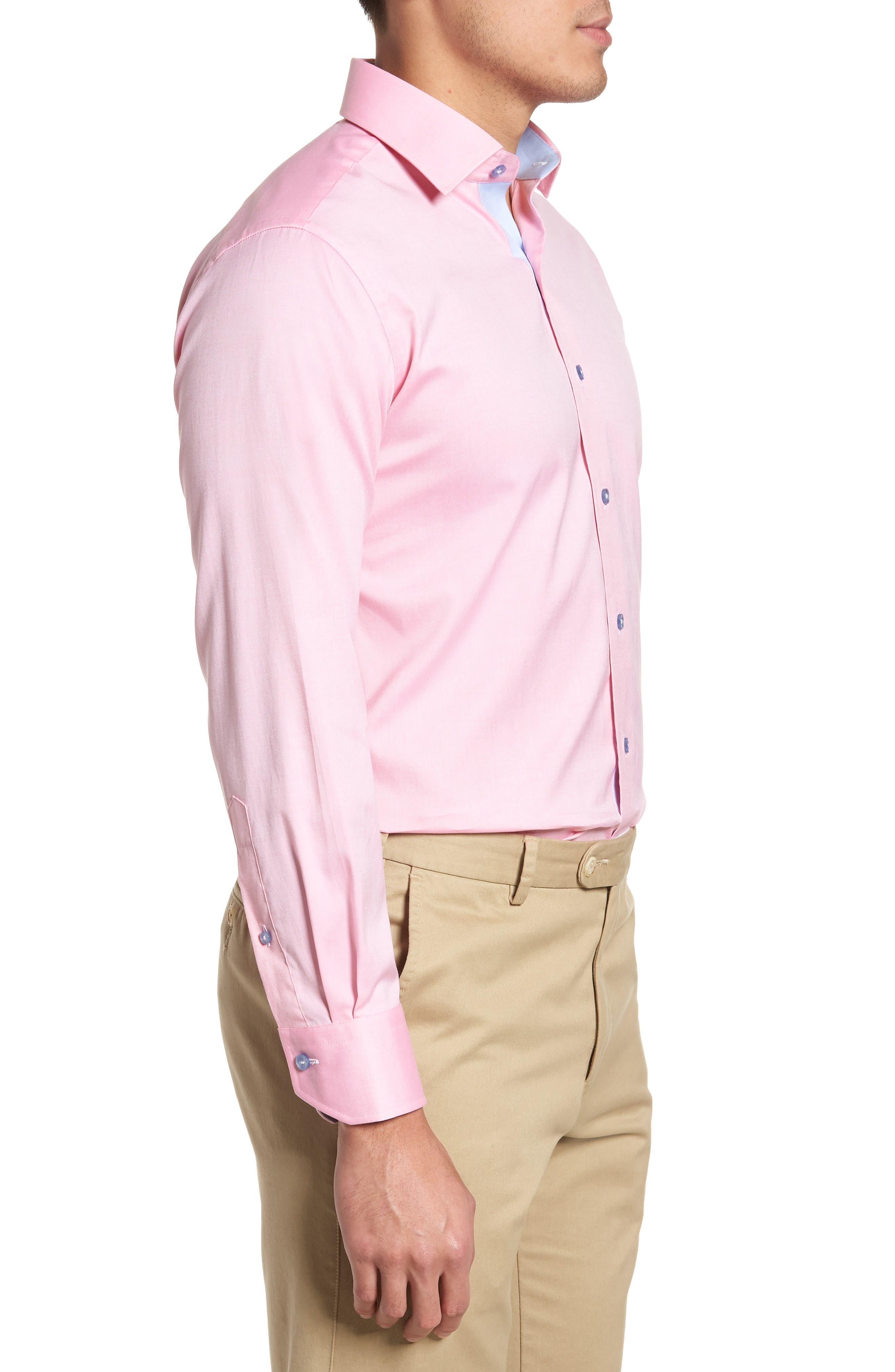 Trim Fit Oxford Dress Shirt,                             Alternate thumbnail 4, color,                             Pink