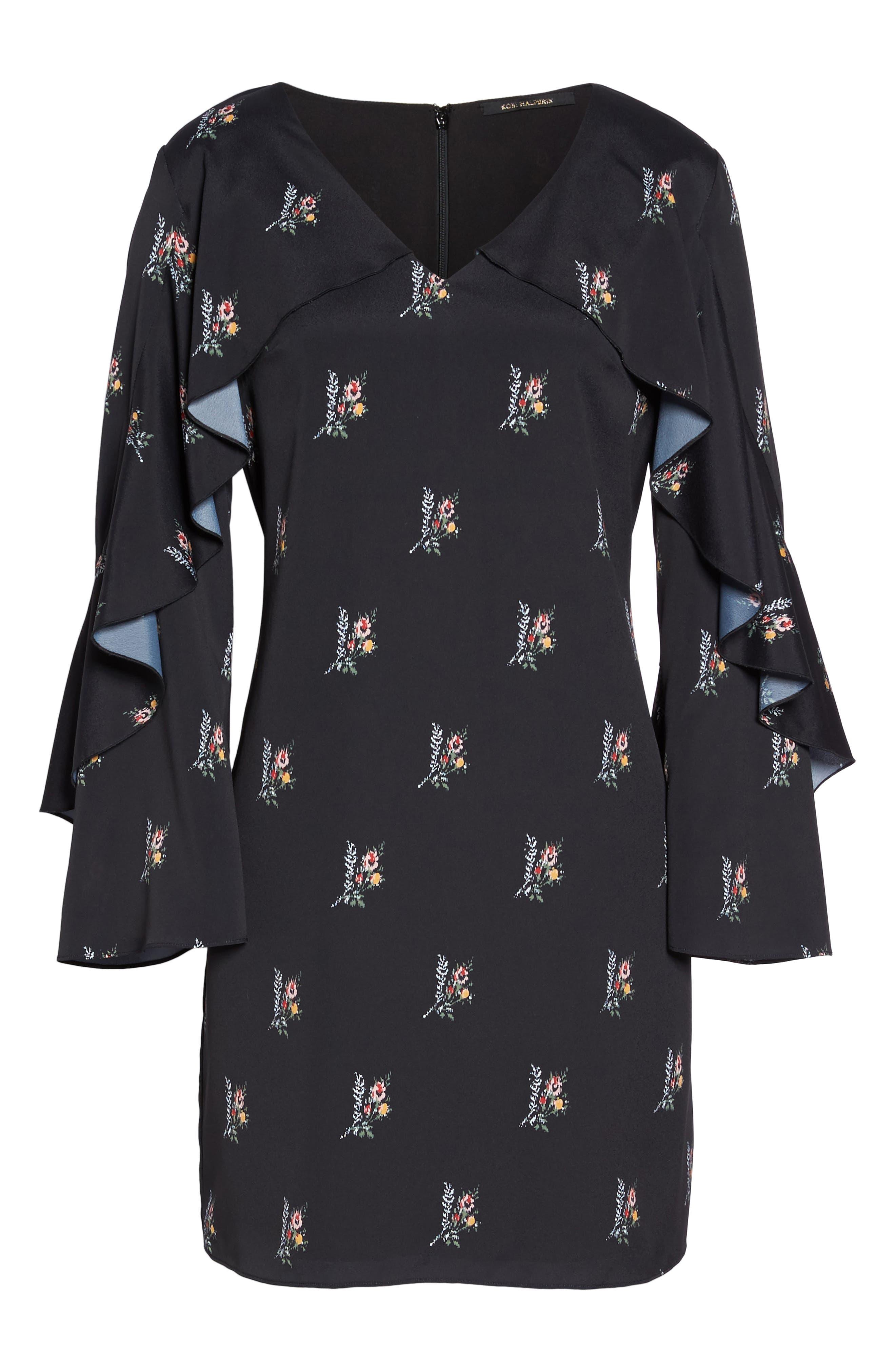 Olessia Ruffle Shift Dress,                             Alternate thumbnail 7, color,                             Black Multi