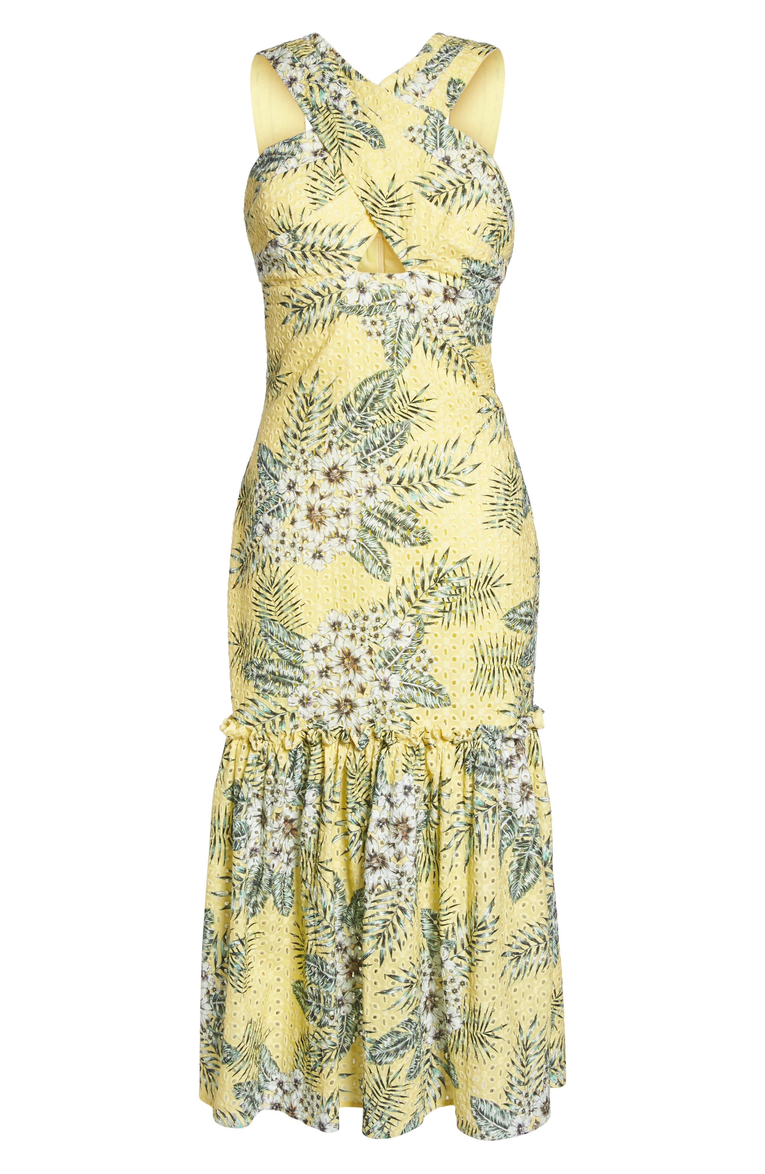 Alternate Image 6  - BB Dakota Sarafina Printed Eyelet Halter Dress