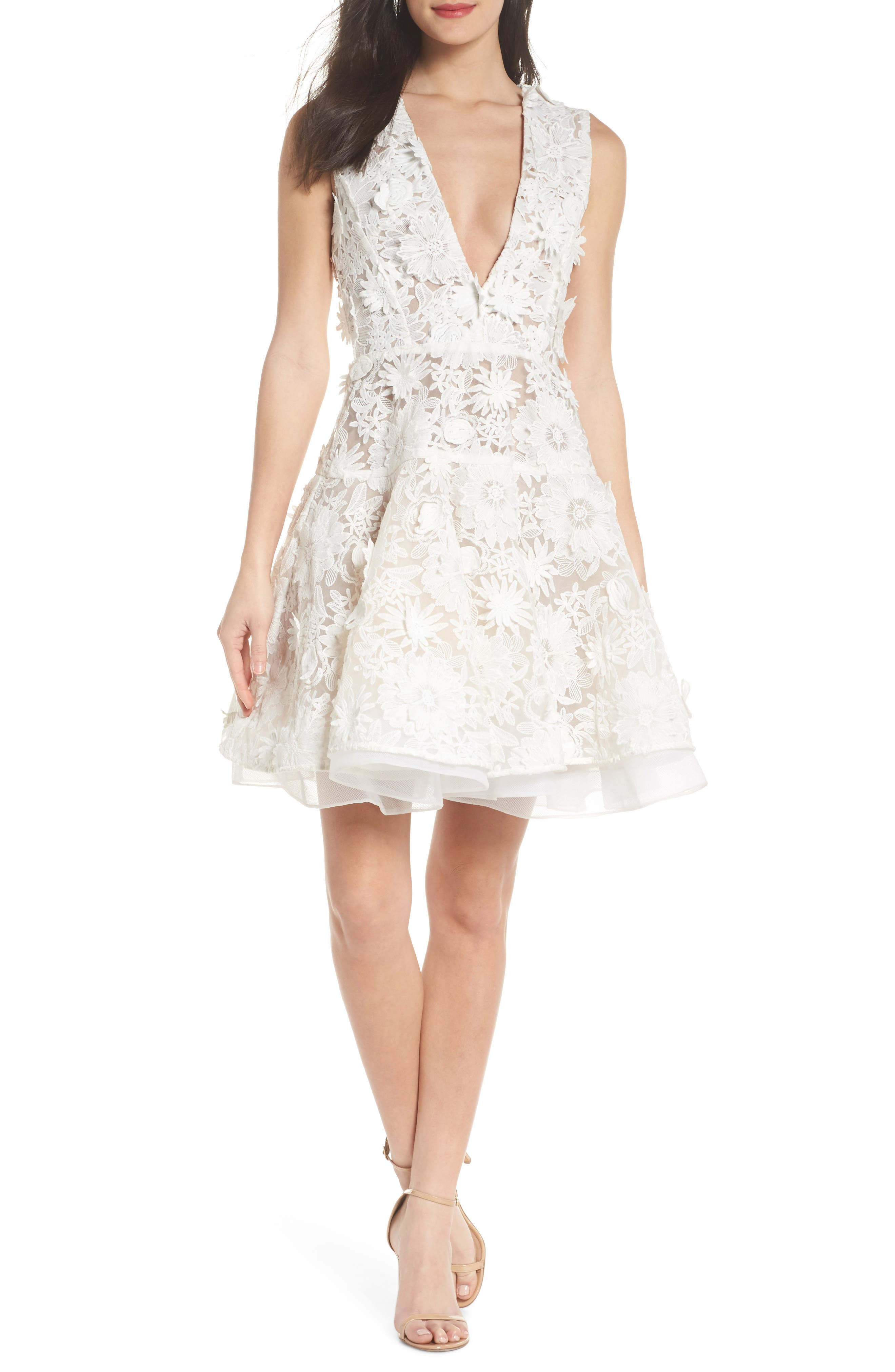 Mila Lace Fit & Flare Dress,                         Main,                         color, White