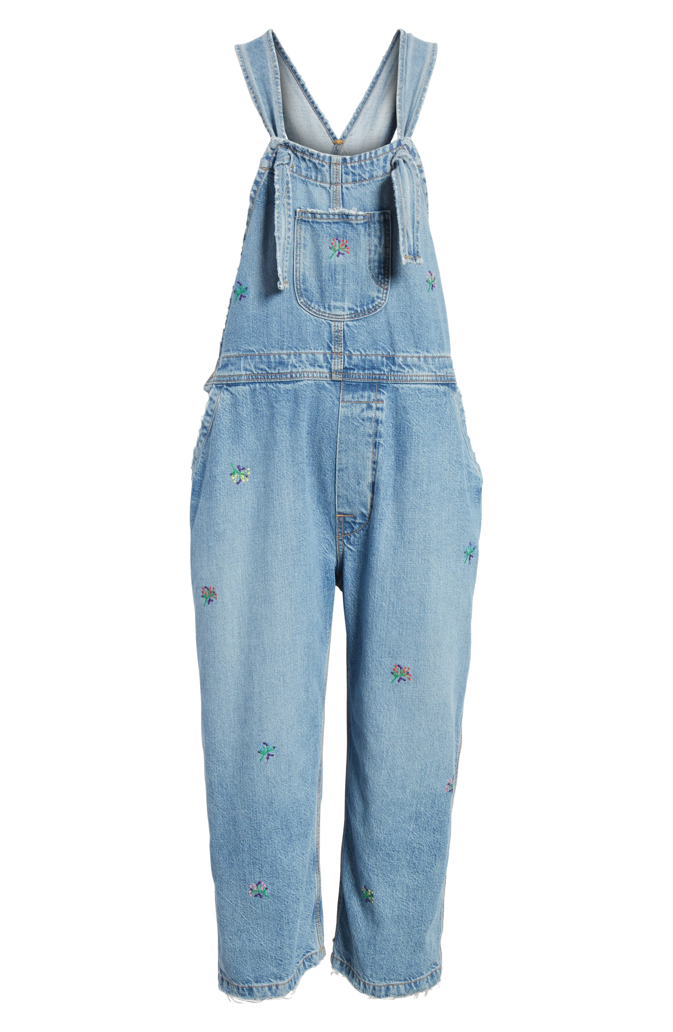 The Shop Embroidered Overalls,                             Alternate thumbnail 7, color,                             Canteen Wash W/ Flower Emb