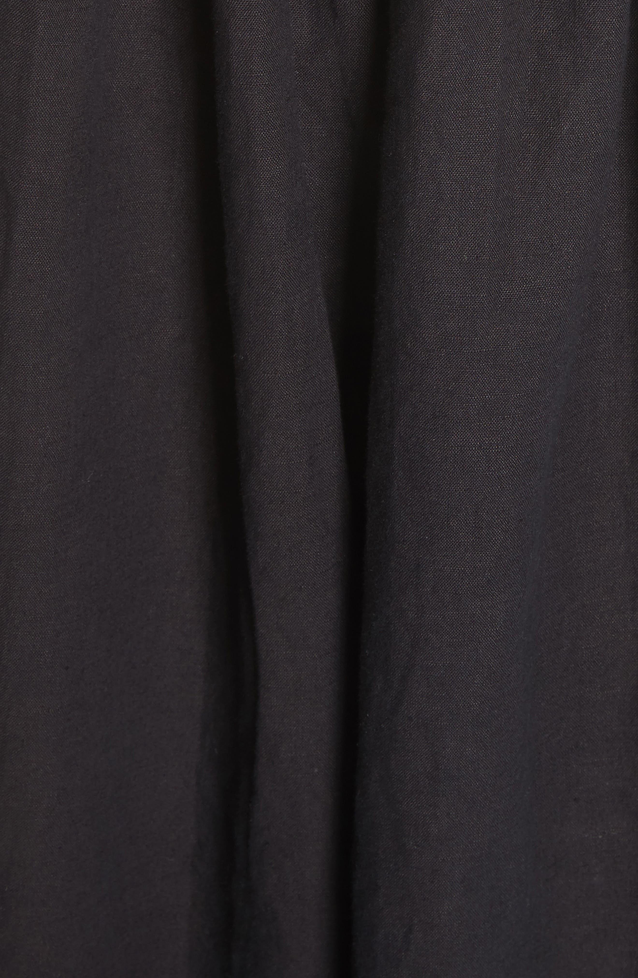 The Tulip Linen & Cotton Dress,                             Alternate thumbnail 6, color,                             Black