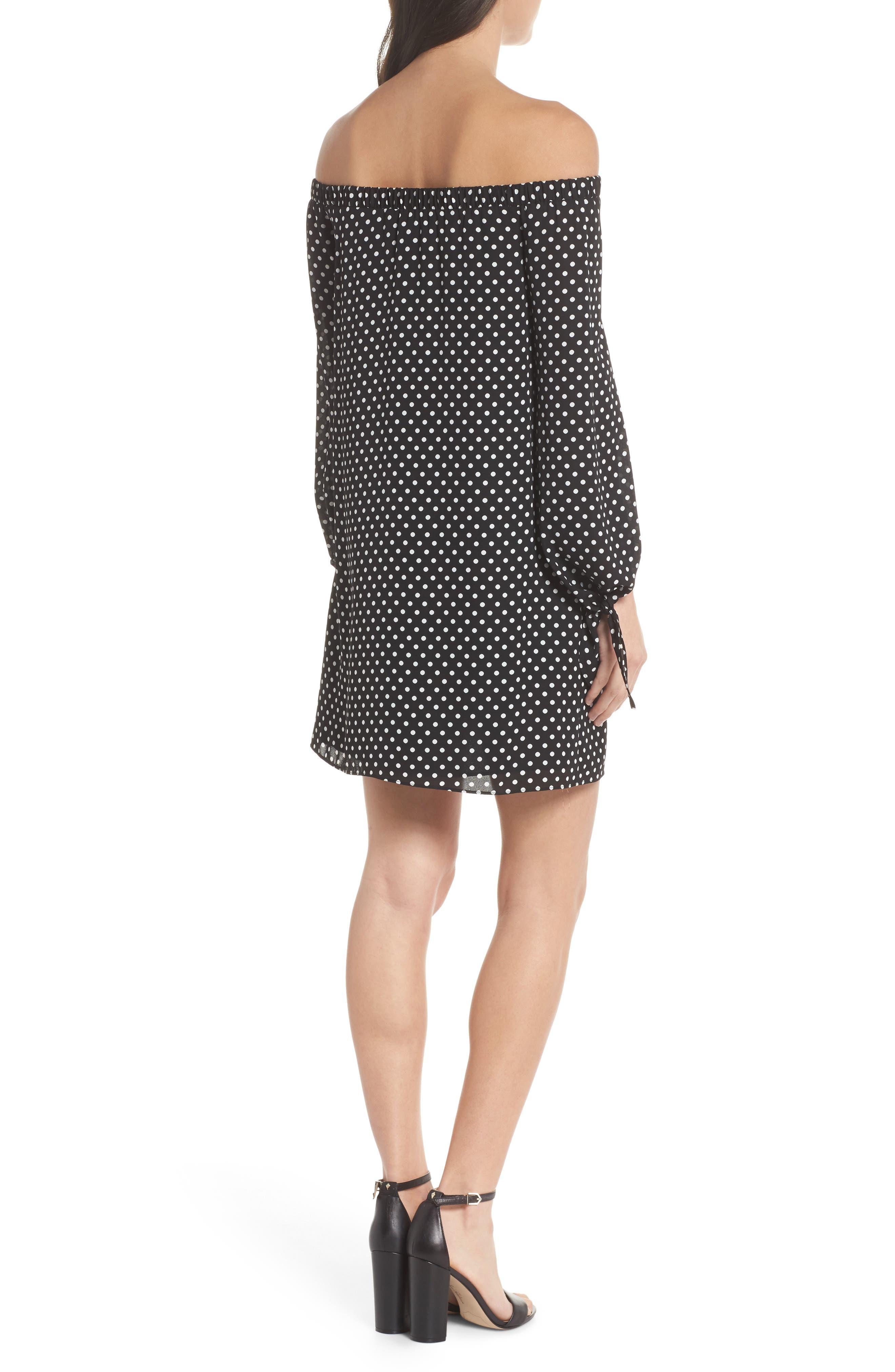 Polka Dot Off the Shoulder Minidress,                             Alternate thumbnail 2, color,                             Black/ White