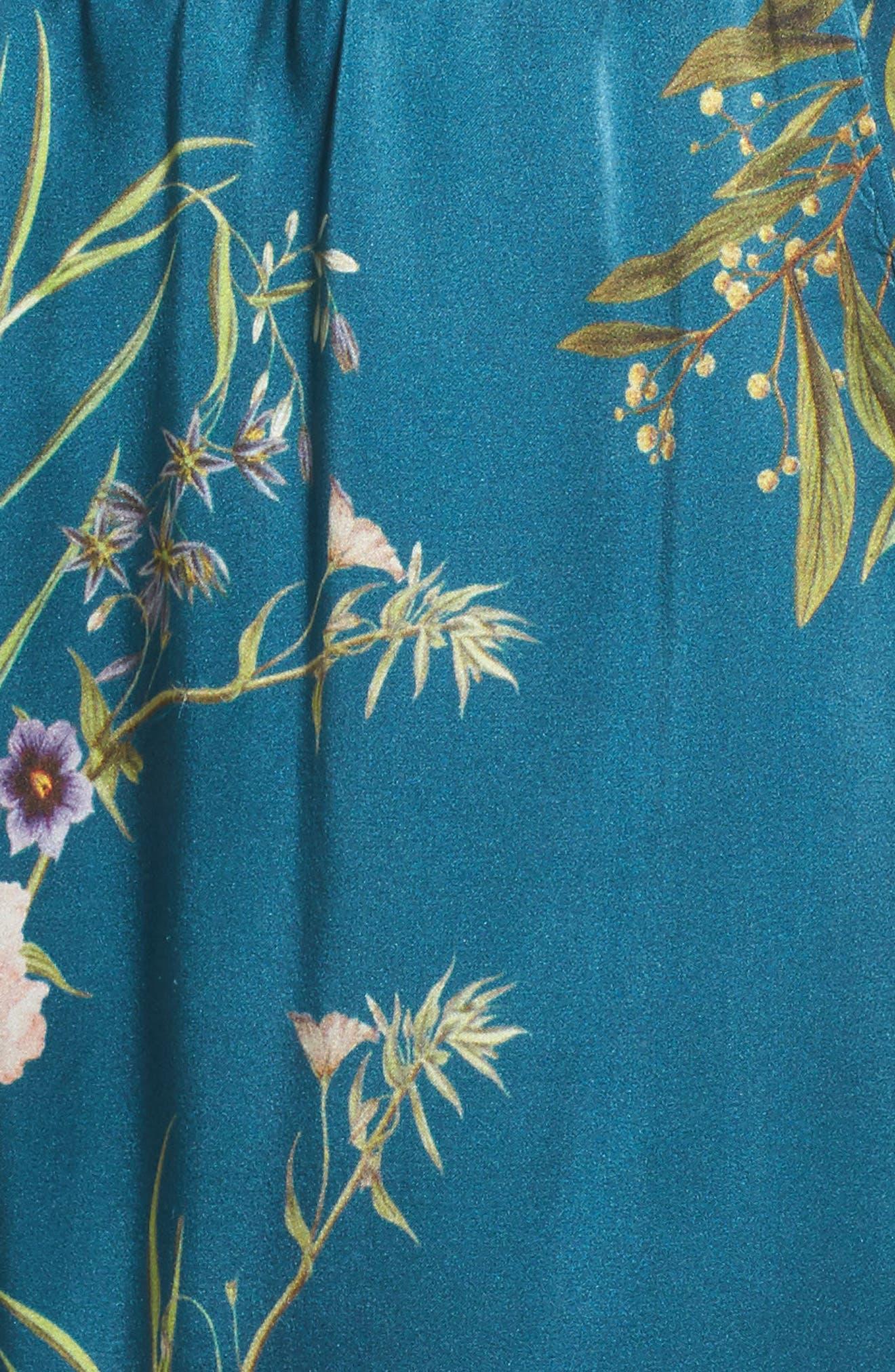Alexandra Silk Pajama Pants,                             Alternate thumbnail 8, color,                             Teal Floral