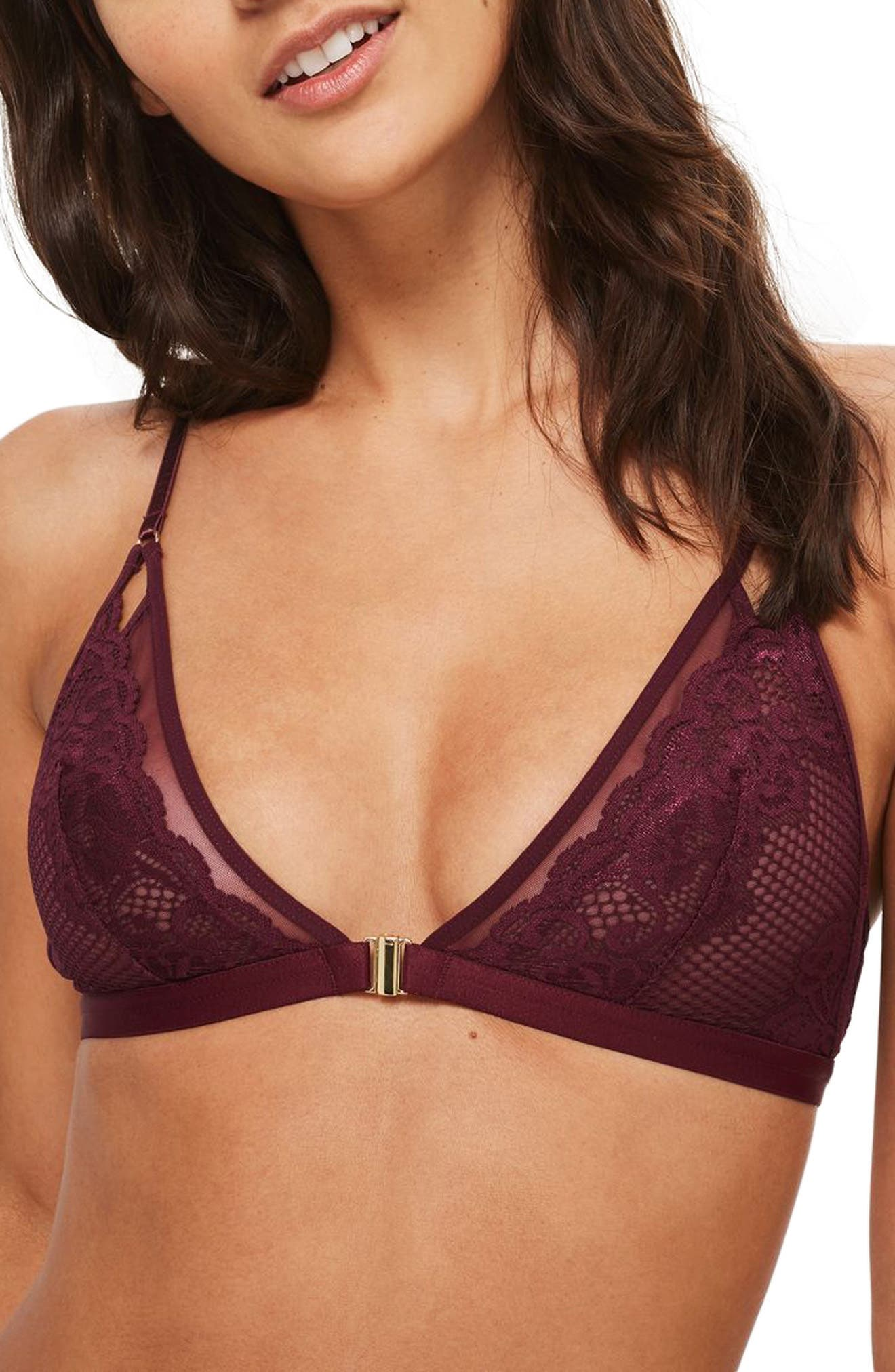 Leila Lace & Mesh Triangle Bra,                             Main thumbnail 1, color,                             Berry Red
