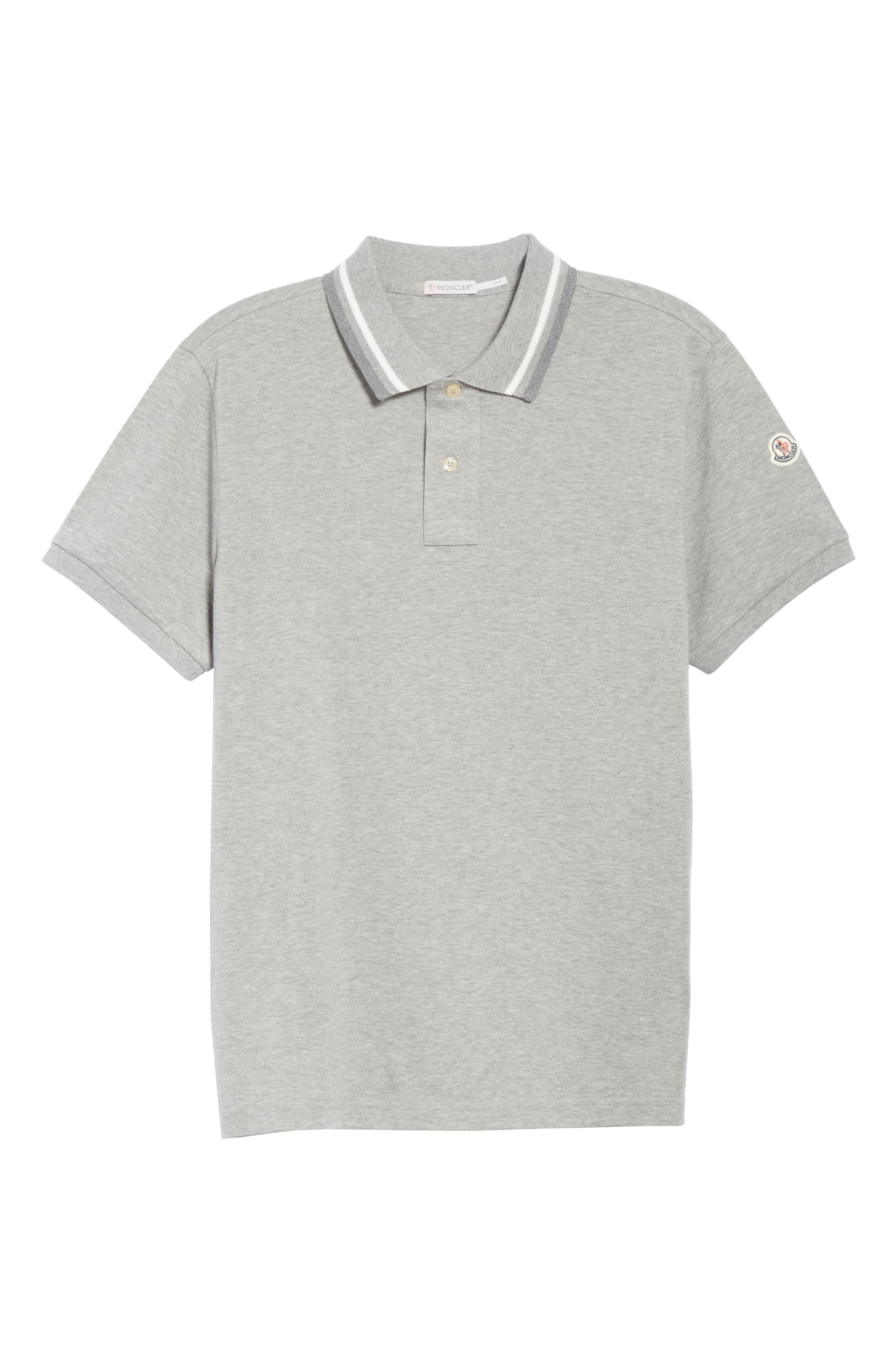 Tipped Jersey Polo,                             Alternate thumbnail 6, color,                             Light Grey