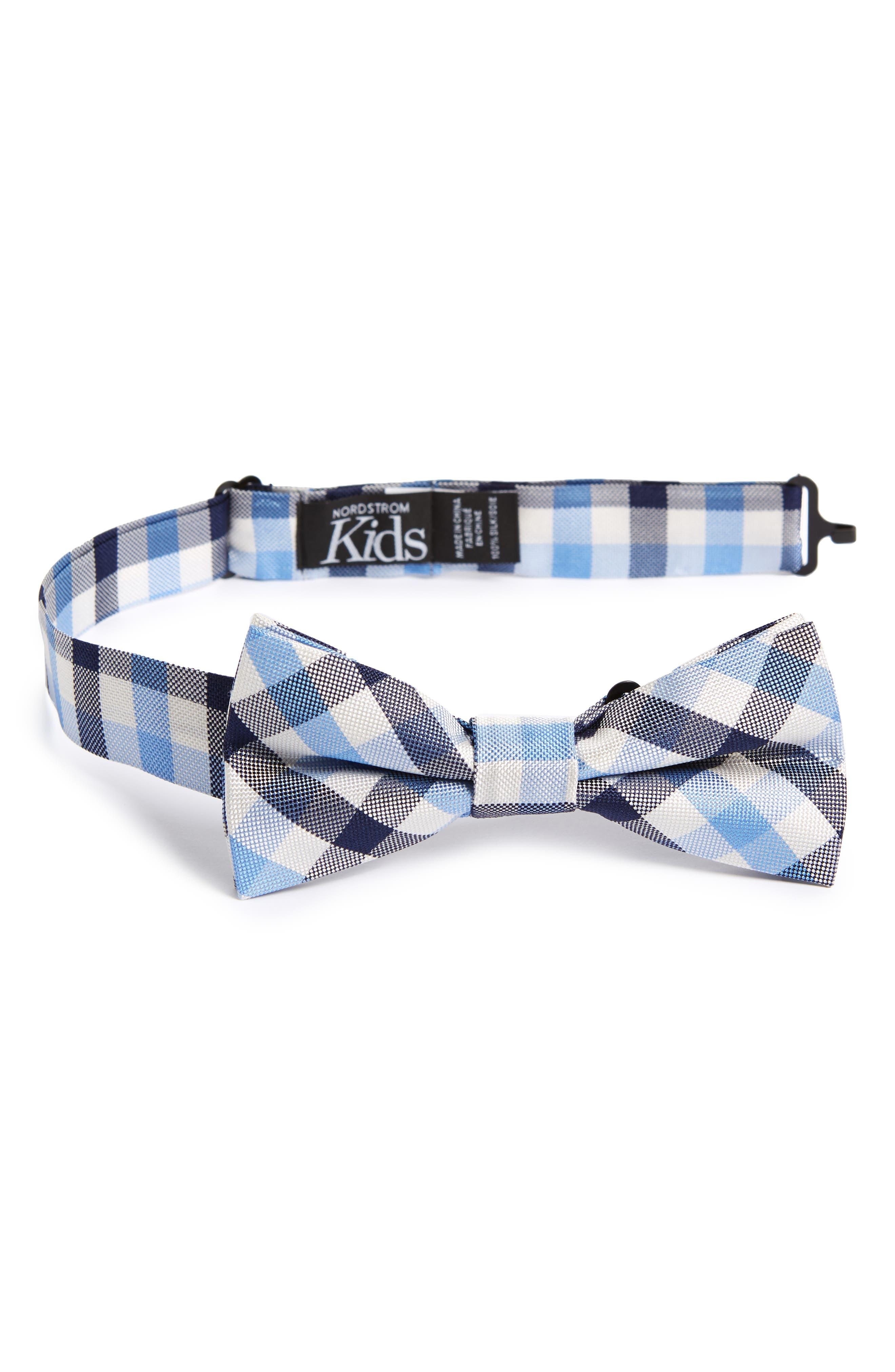 Window Plaid Silk Bow Tie,                             Main thumbnail 1, color,                             Light Blue