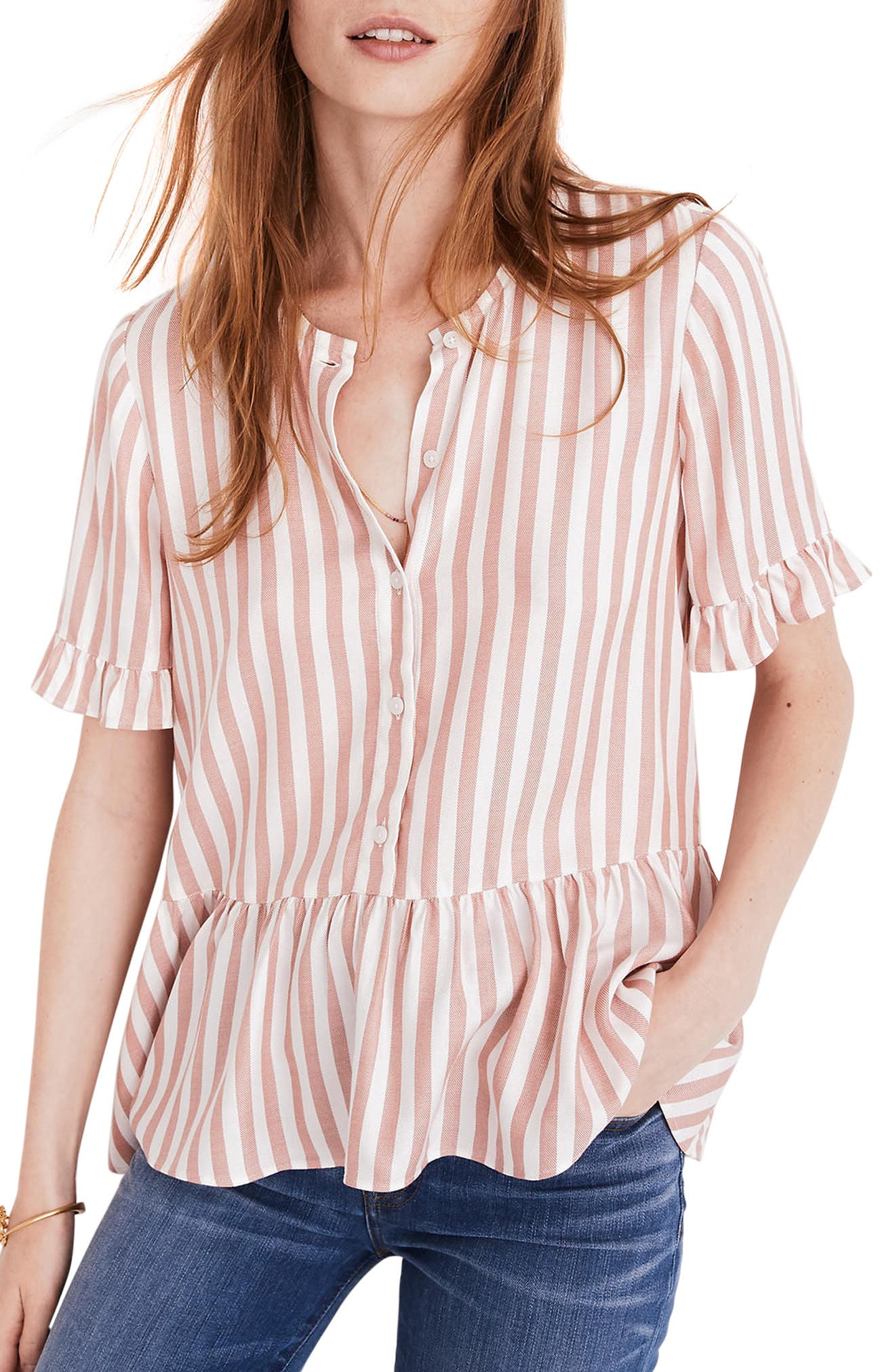 Studio Ruffle Hem Top,                         Main,                         color, Neat Stripe Dried Coral