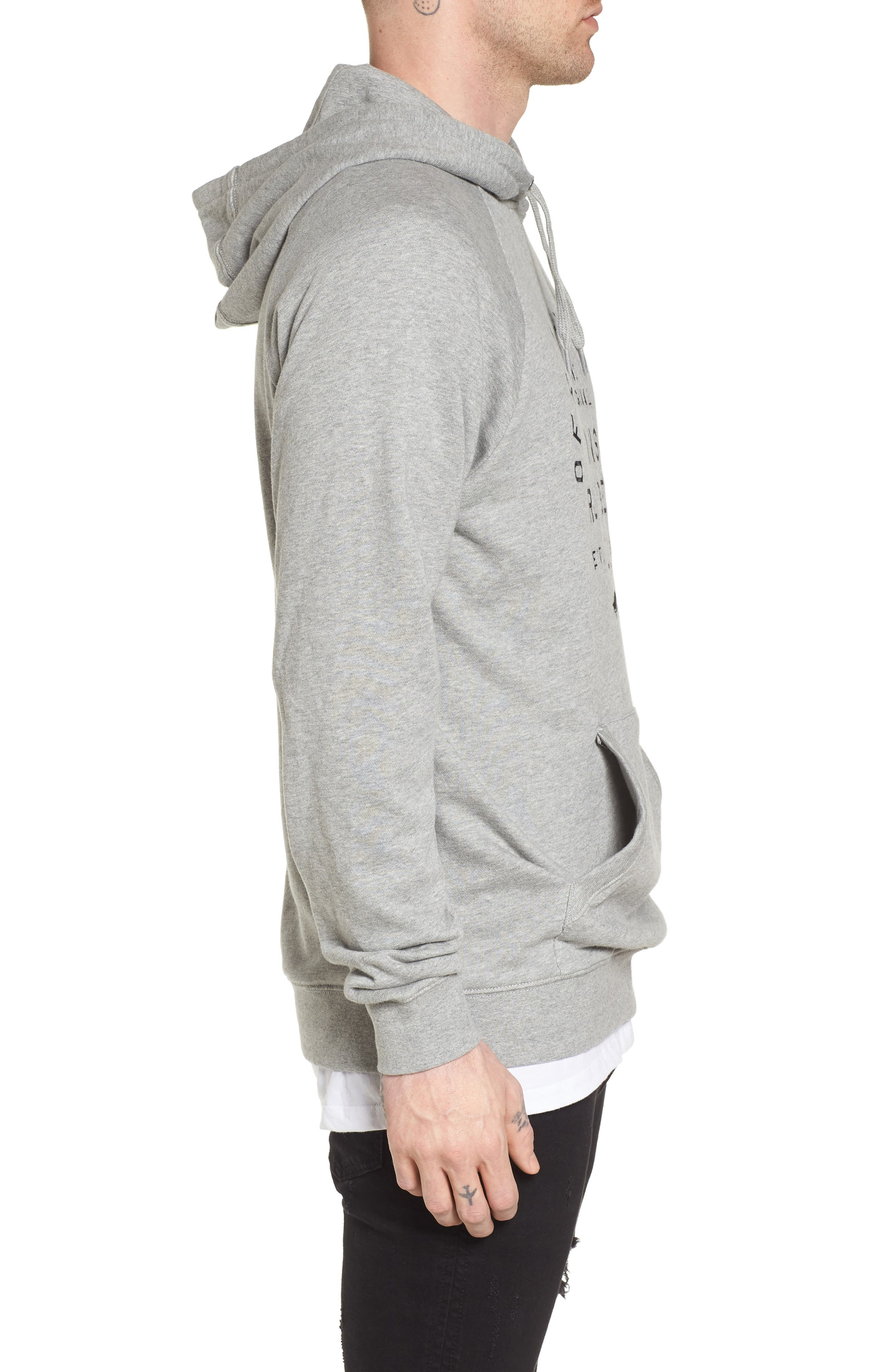Stacked Rubber Hoodie Sweatshirt,                             Alternate thumbnail 3, color,                             Cement Heather