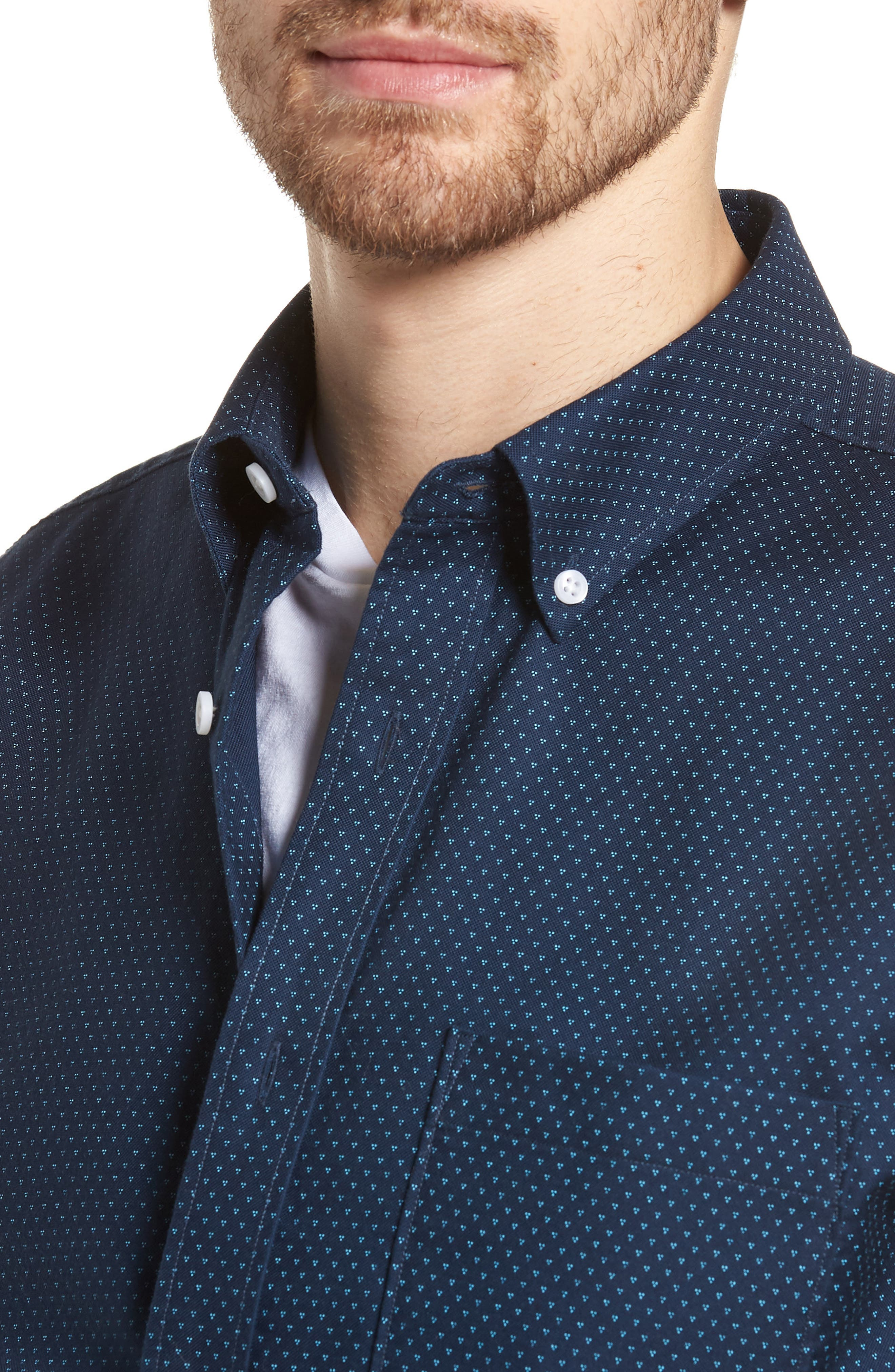Trim Fit Print Washed Oxford Sport Shirt,                             Alternate thumbnail 4, color,                             Navy Night Triple Dot