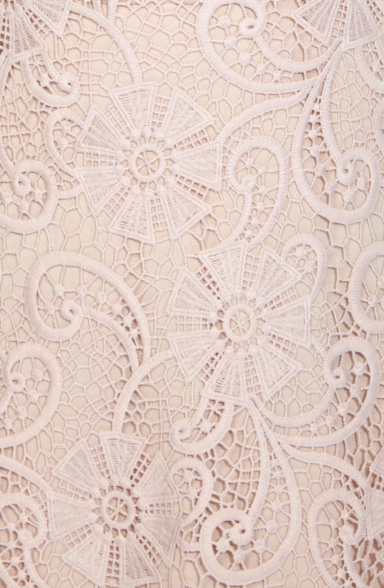 Yani Lace Strapless Midi Dress,                             Alternate thumbnail 4, color,                             Pink