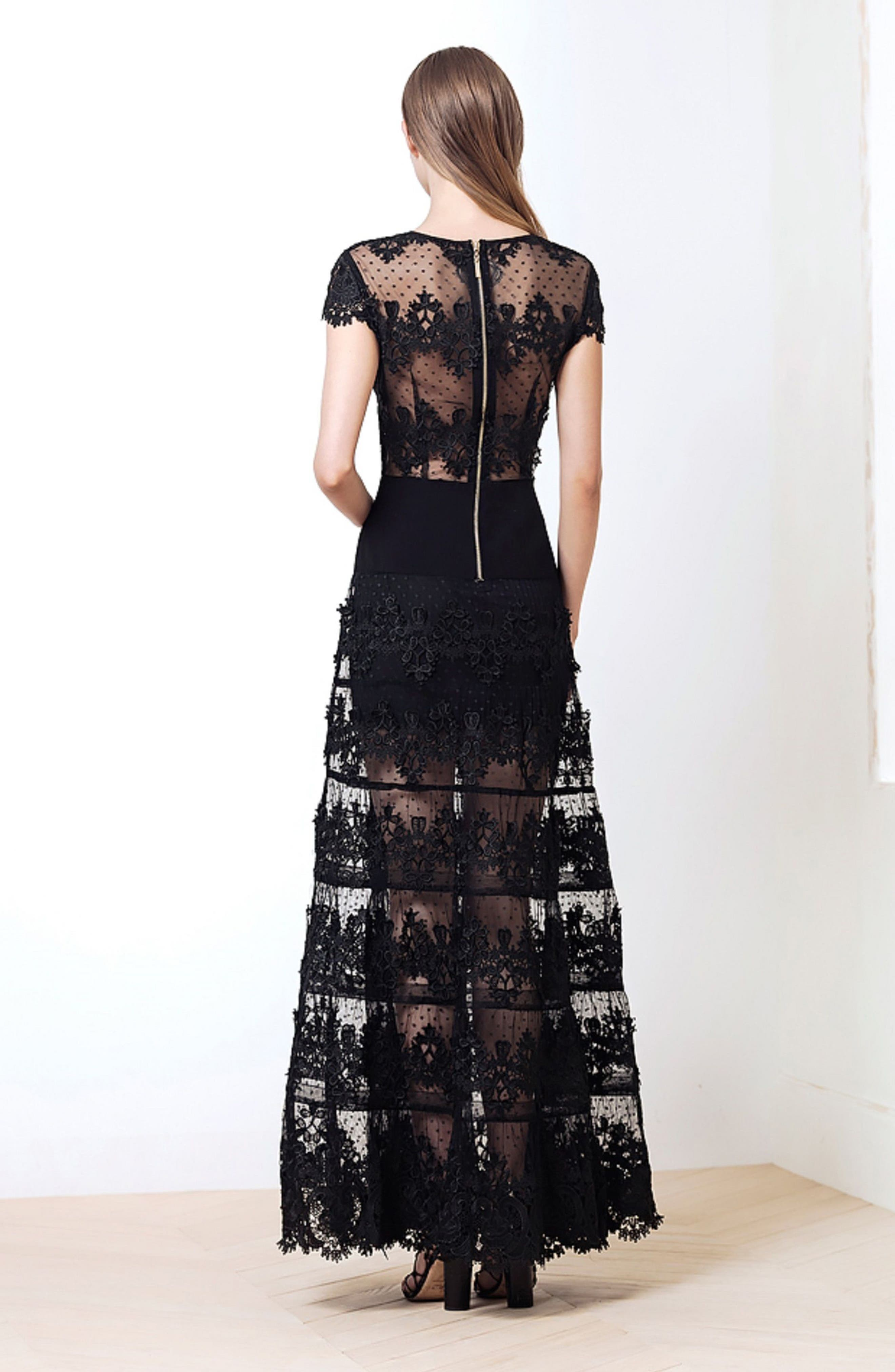 Flamenco Lace Inset Gown,                             Alternate thumbnail 2, color,                             Black/ Navy