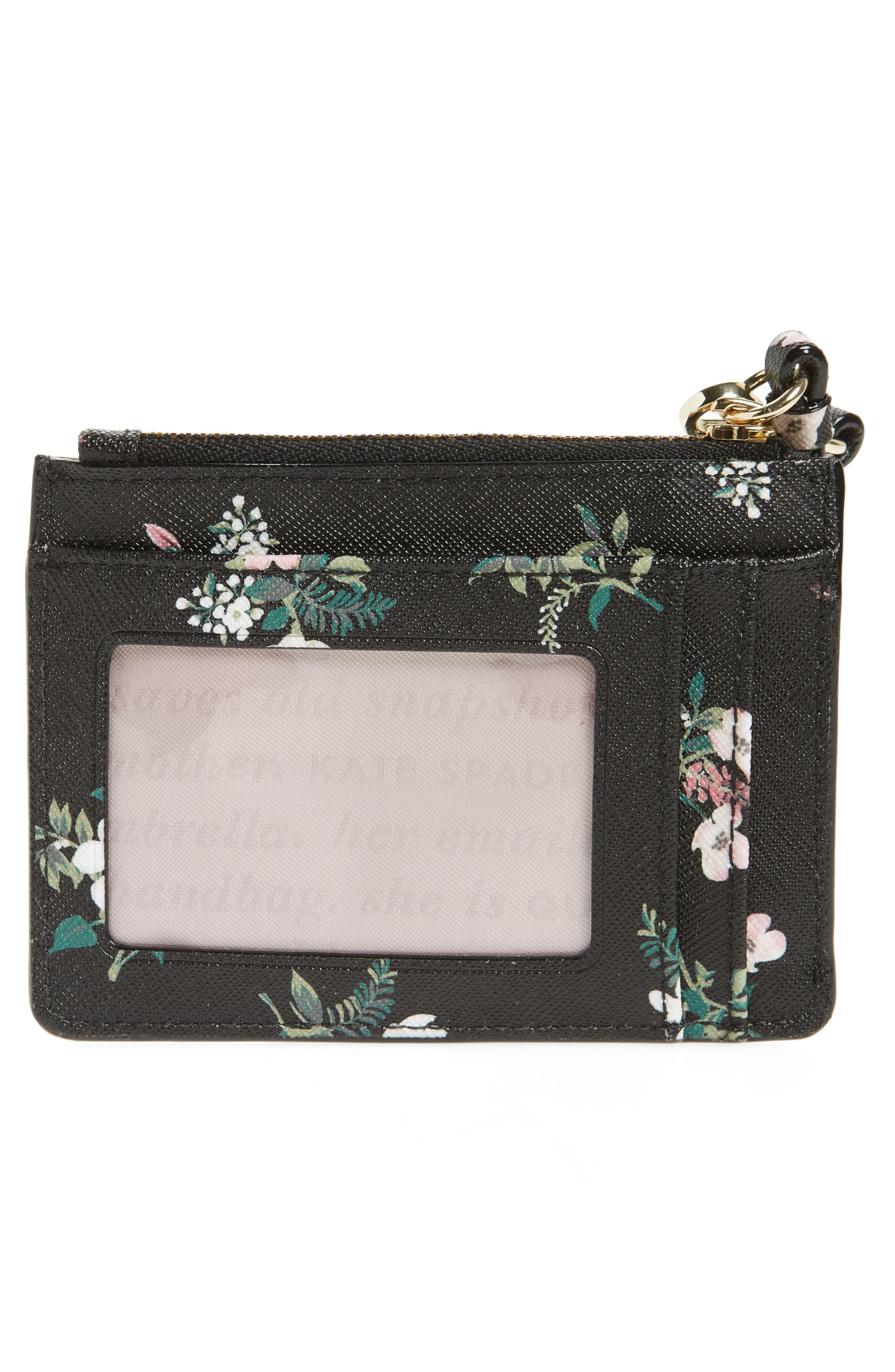 cameron street - flora mellody fabric card case,                             Alternate thumbnail 2, color,                             Black Multi