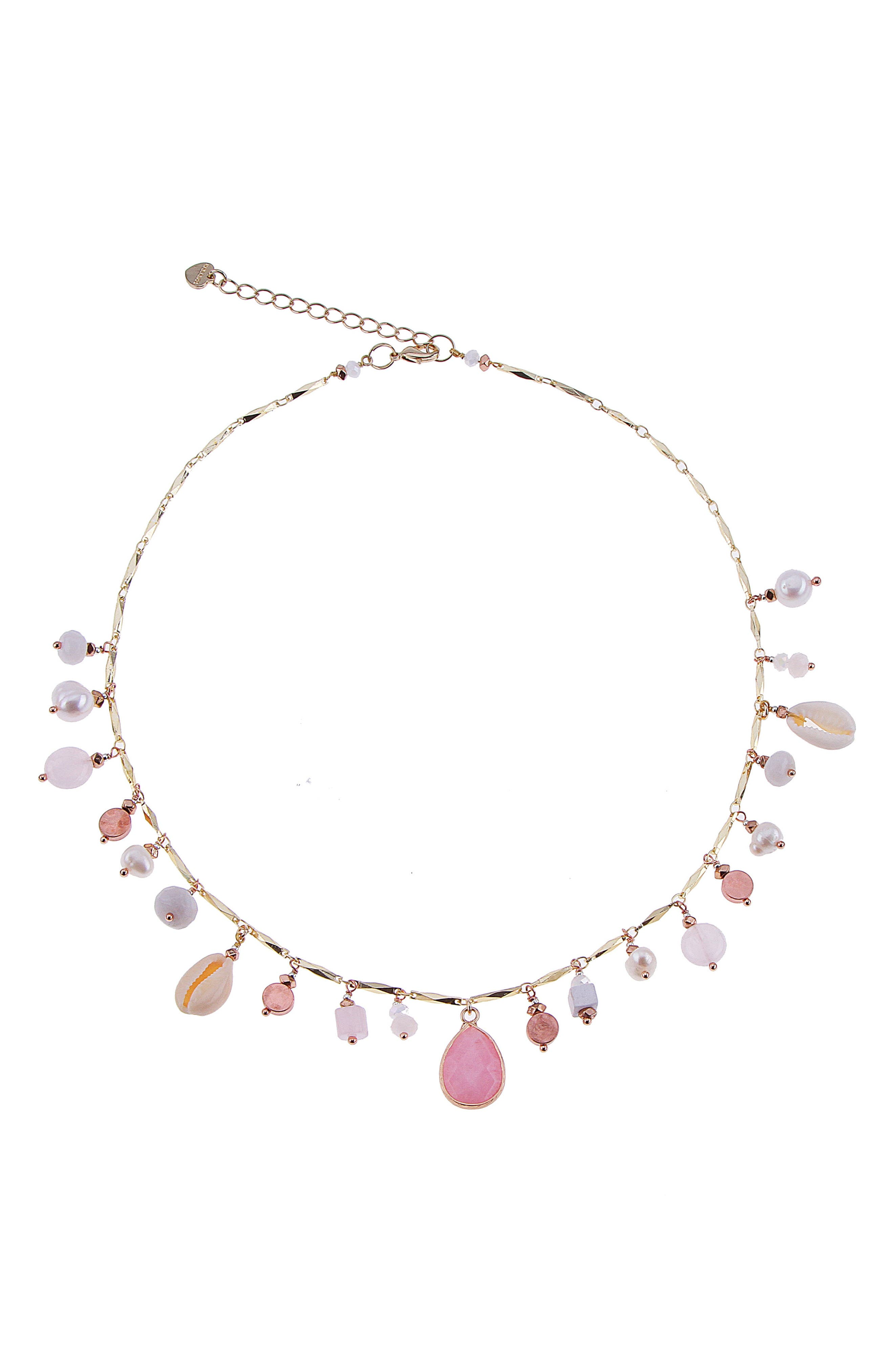 Dainty Stone Freshwater Pearl, Agate & Moonstone Charm Necklace,                         Main,                         color, White