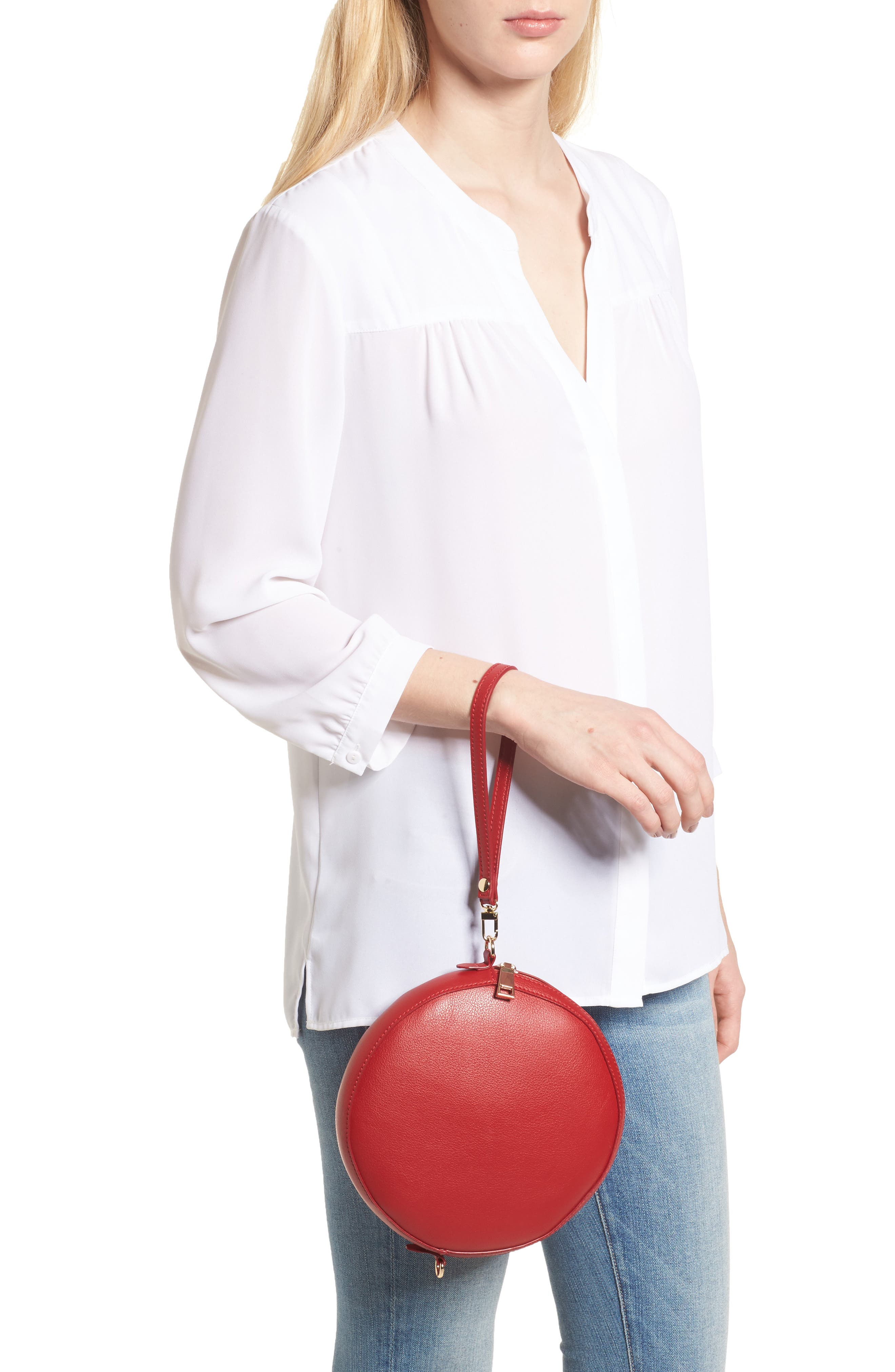Smooth Circle Crossbody,                             Alternate thumbnail 2, color,                             Cherry Red