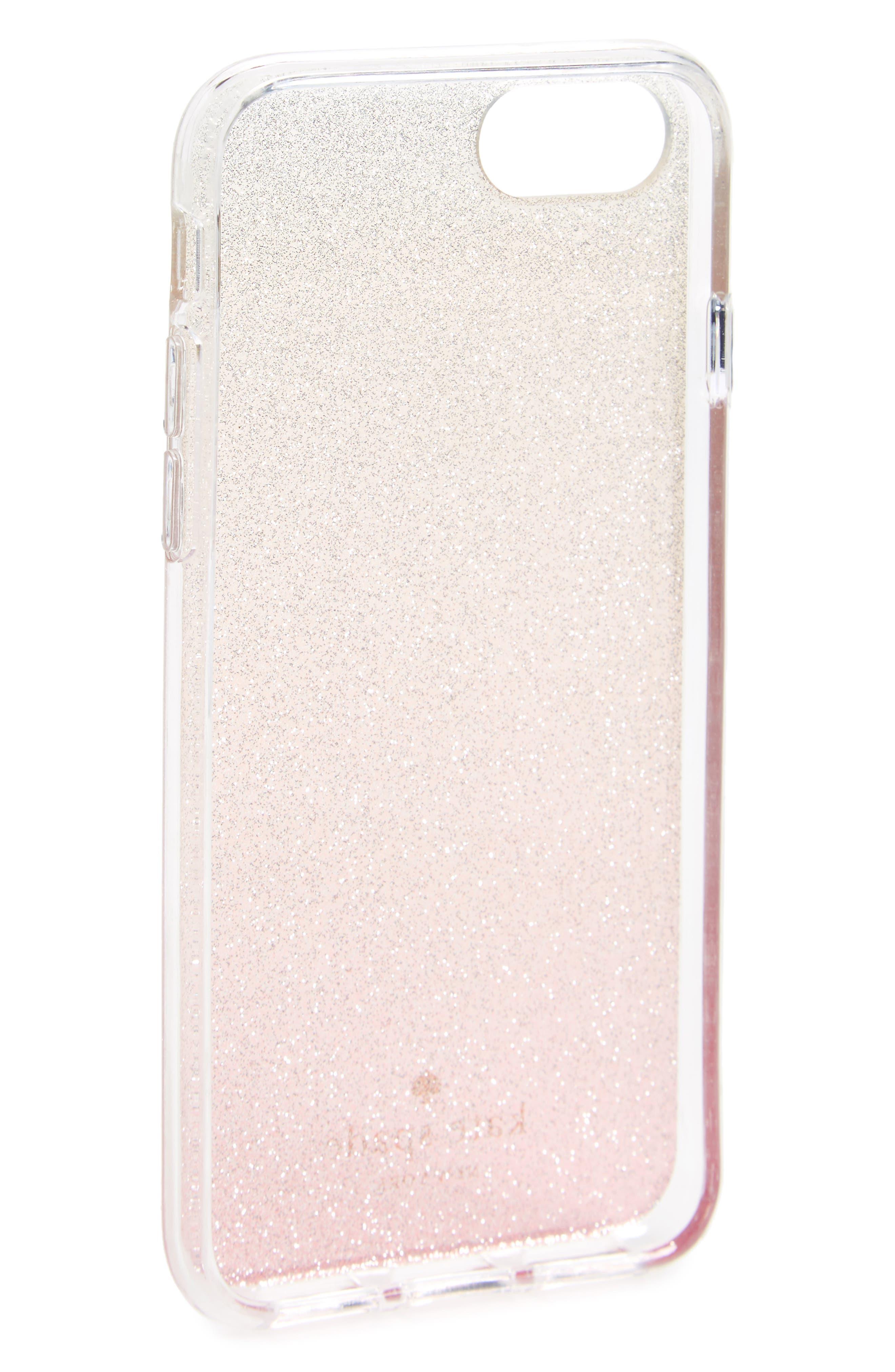 ombré glitter iPhone 7/8 & 7/8 Plus case,                             Alternate thumbnail 2, color,                             Pink Glitter