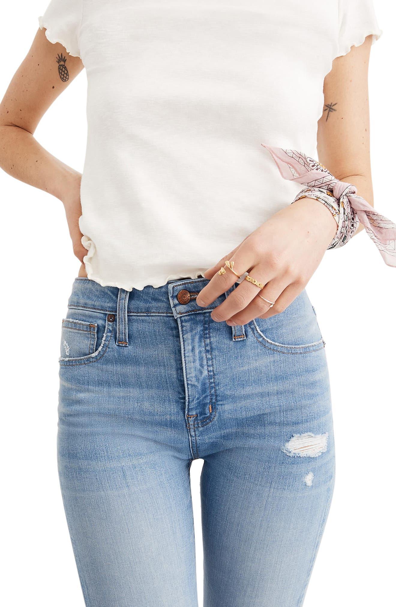 Curvy High Waist Distressed Hem Skinny Jeans,                             Alternate thumbnail 3, color,                             Ontario Wash