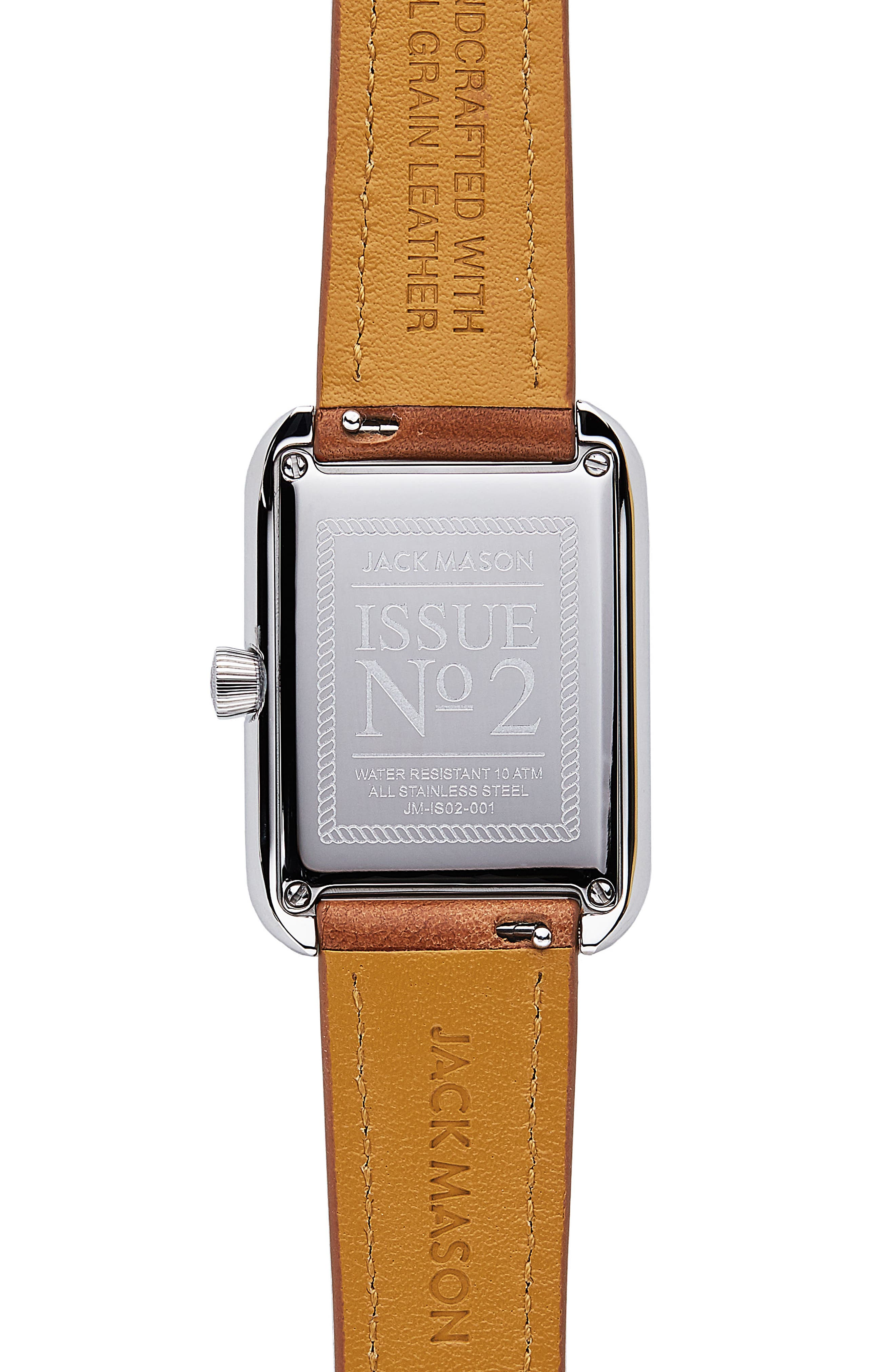 Issue No. 2 Leather Strap Watch, 34mm x 28mm,                             Alternate thumbnail 3, color,                             Tan/ White/ Silver