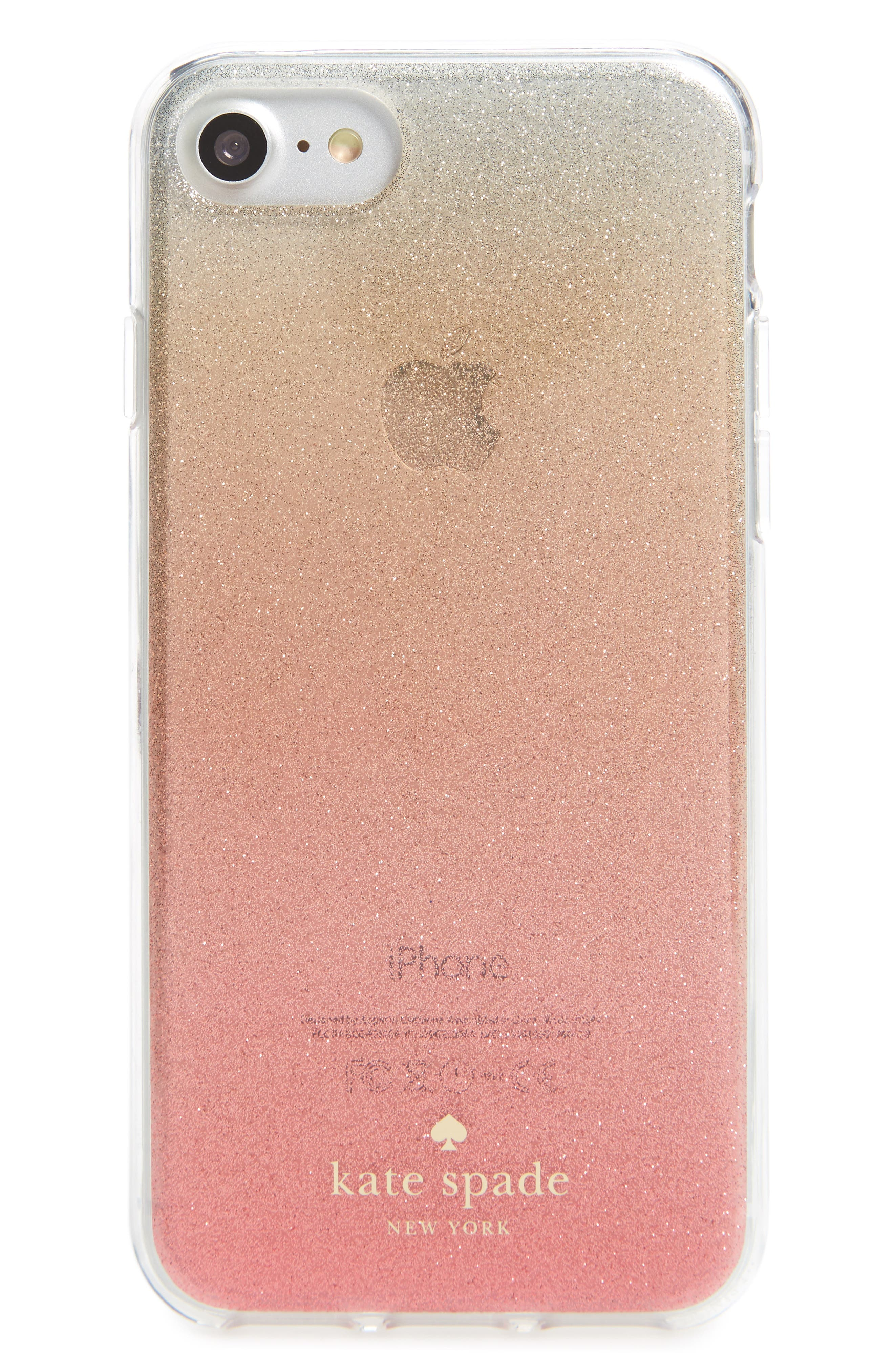 ombré glitter iPhone 7/8 & 7/8 Plus case,                             Main thumbnail 1, color,                             Pink Glitter