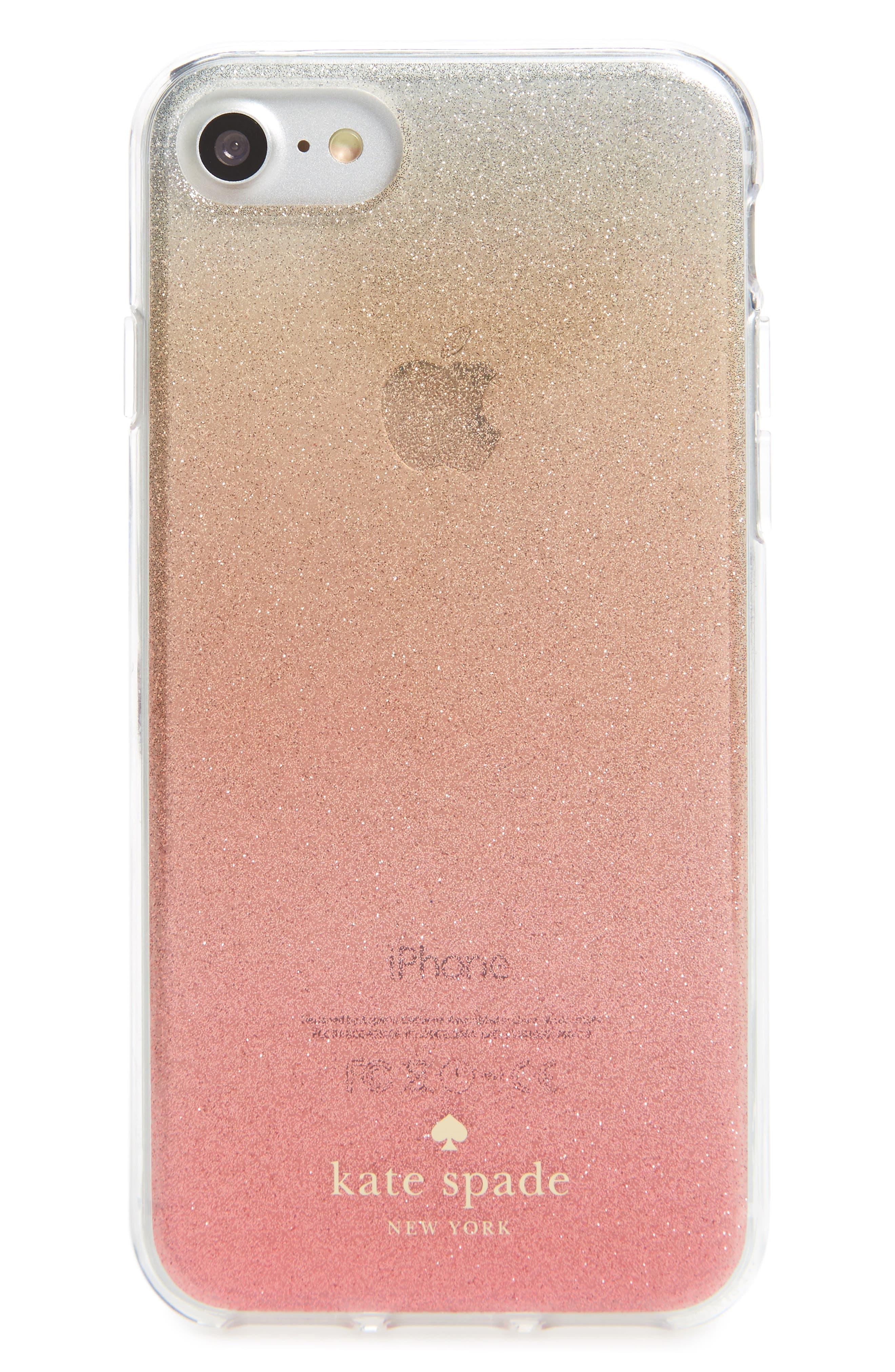ombré glitter iPhone 7/8 & 7/8 Plus case,                         Main,                         color, Pink Glitter