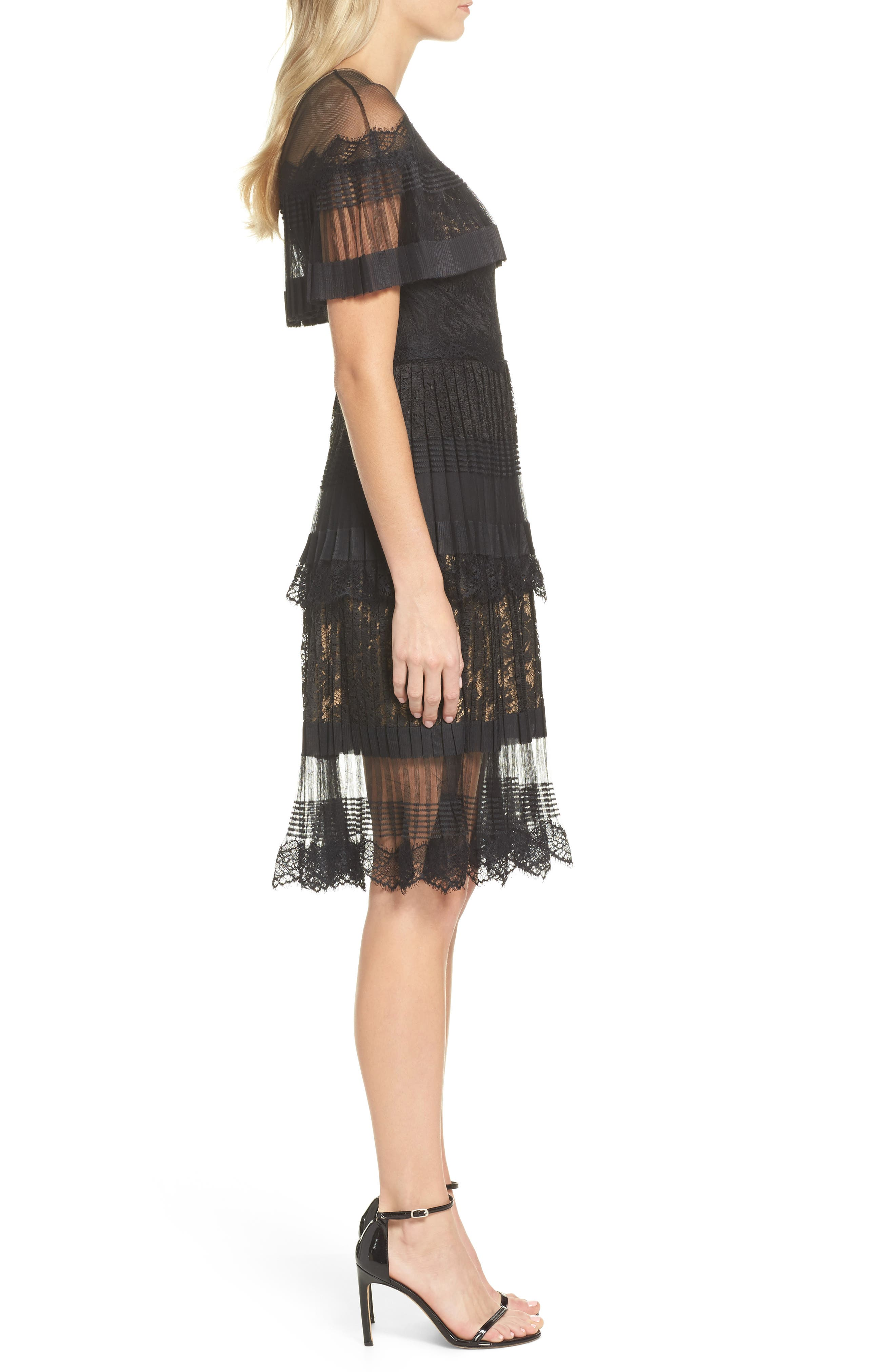 Pleated Lace Dress,                             Alternate thumbnail 3, color,                             Black/ Nude