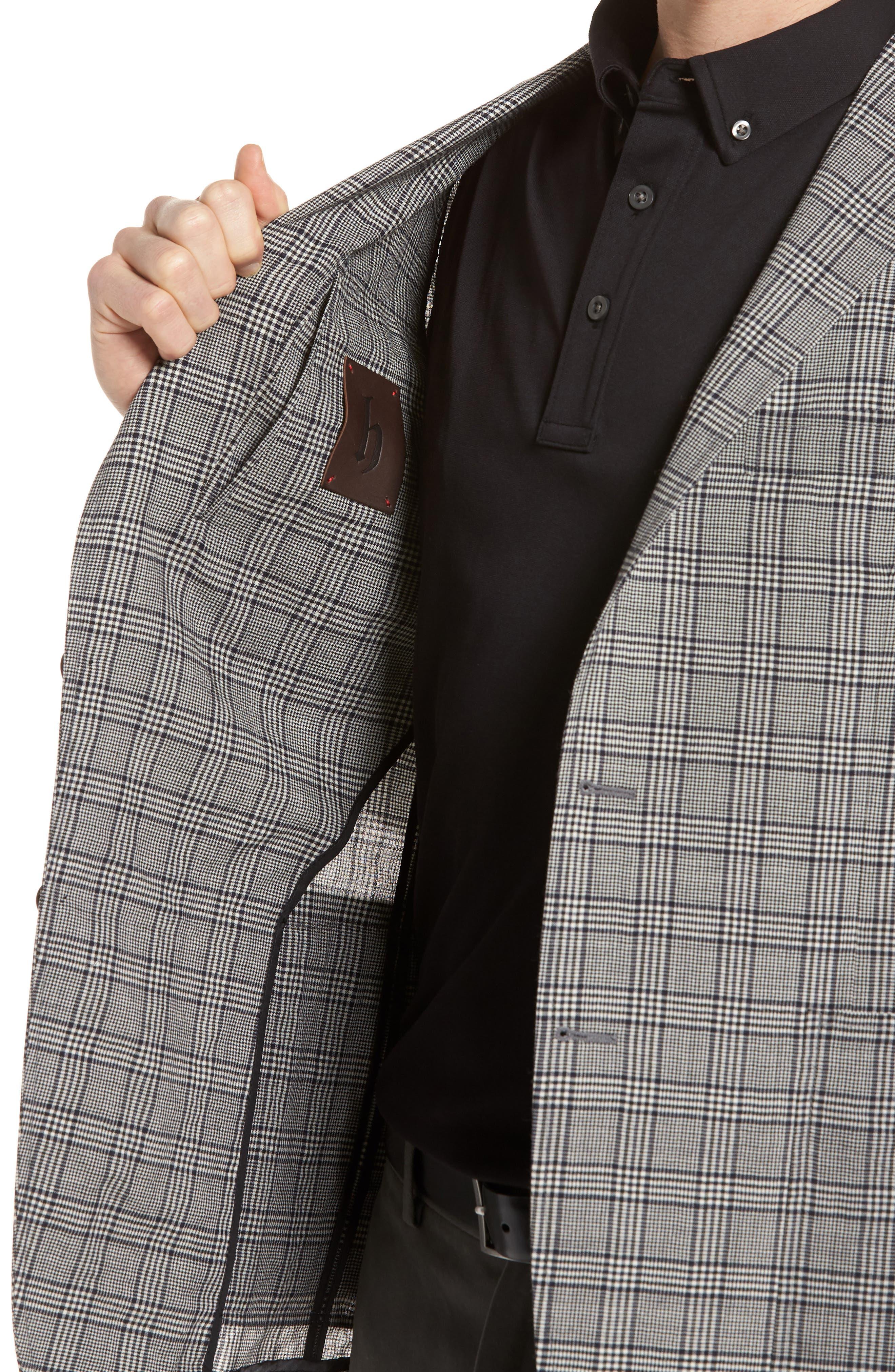 Modern Fit Plaid Wool Sport Coat,                             Alternate thumbnail 4, color,                             Black
