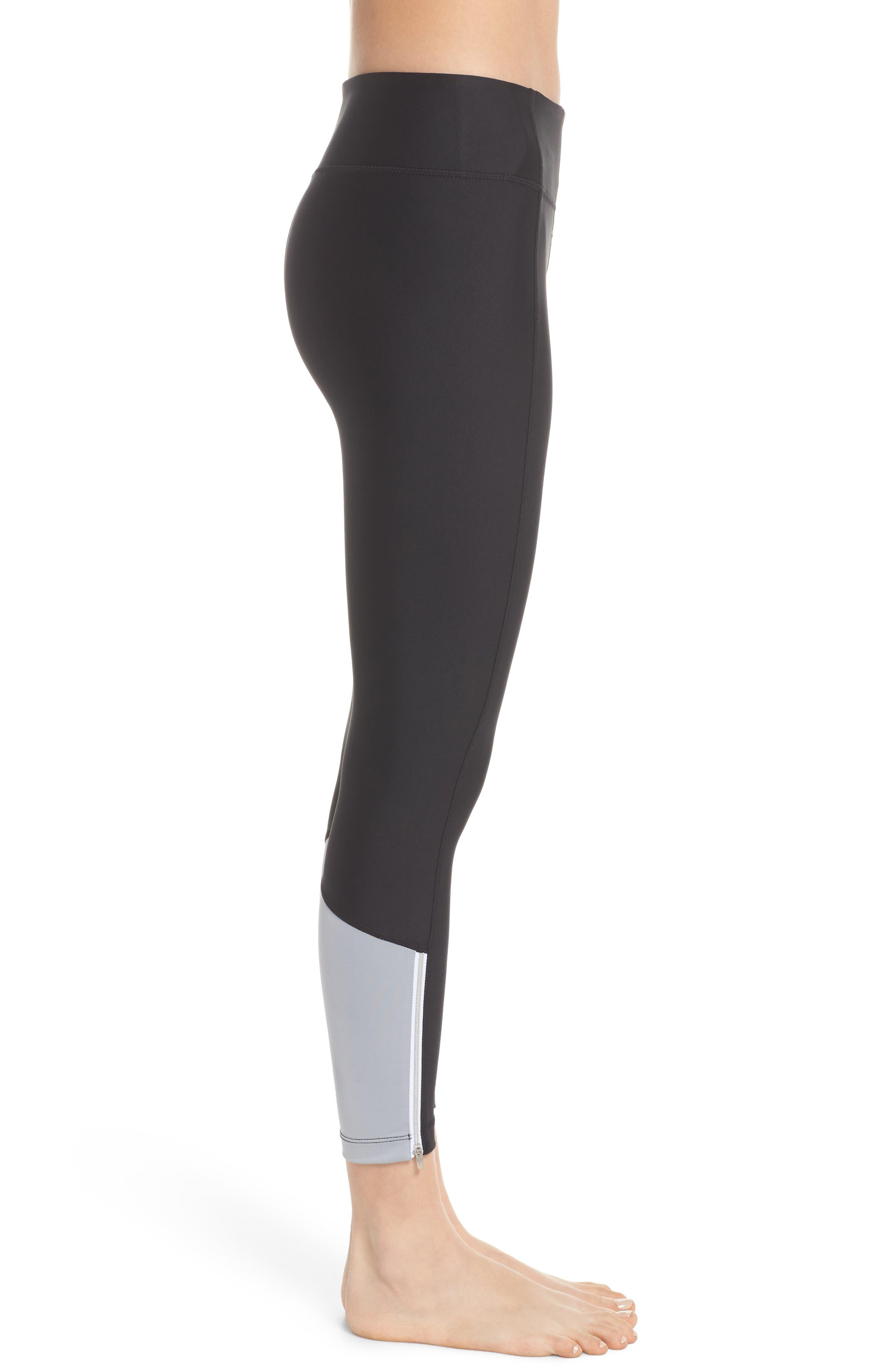 Machina Midi Leggings,                             Alternate thumbnail 3, color,                             Black