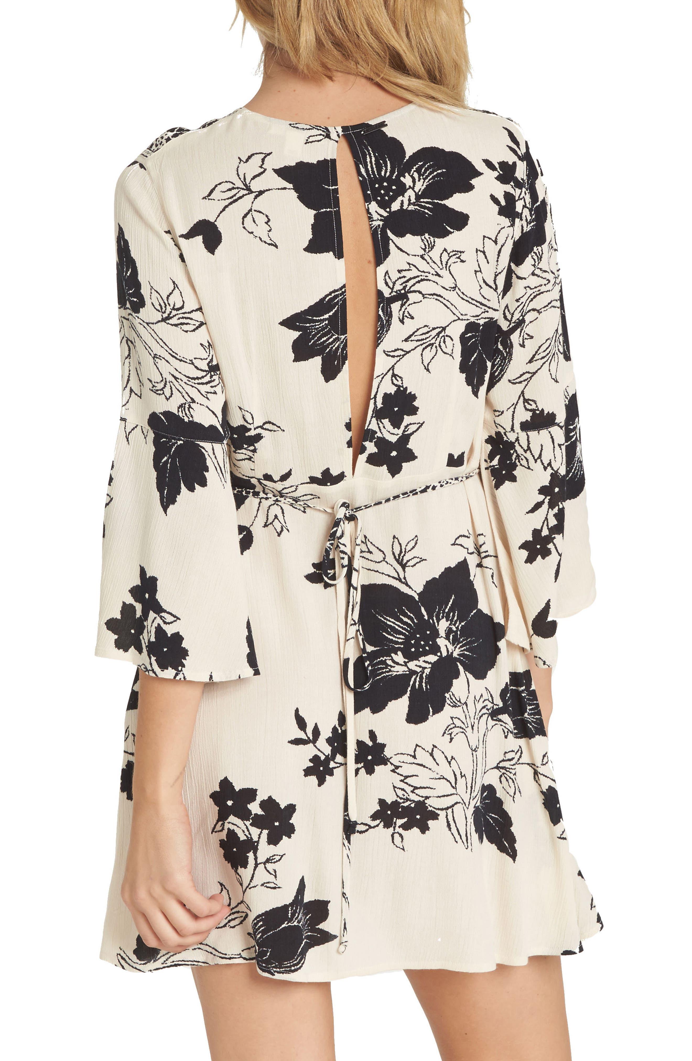 Divine Floral Print Dress,                             Alternate thumbnail 2, color,                             Ivory