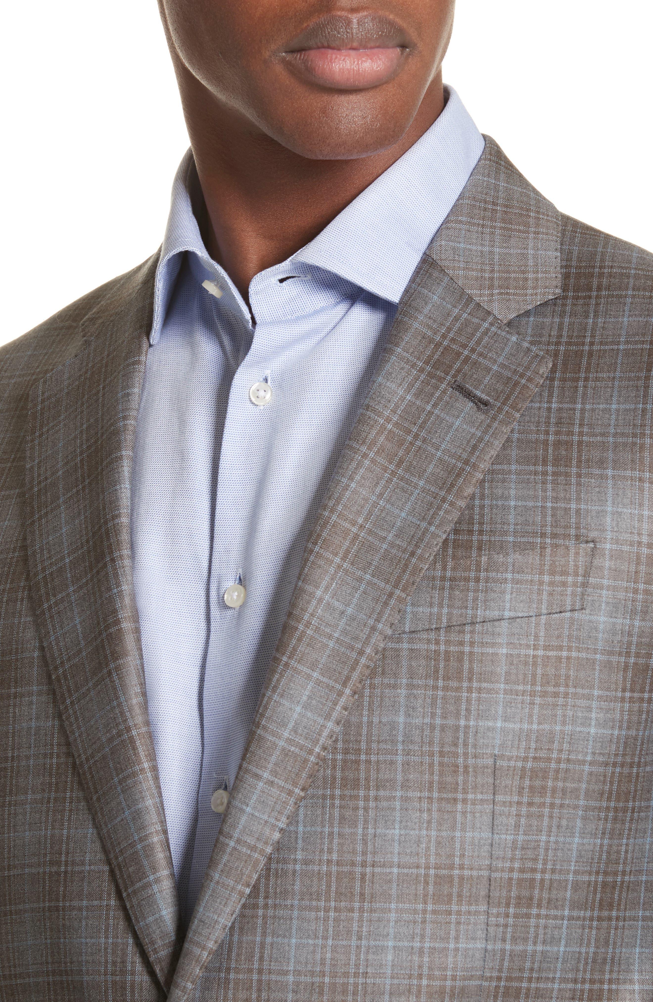 G-Line Trim Fit Plaid Wool Sport Coat,                             Alternate thumbnail 4, color,                             Tan