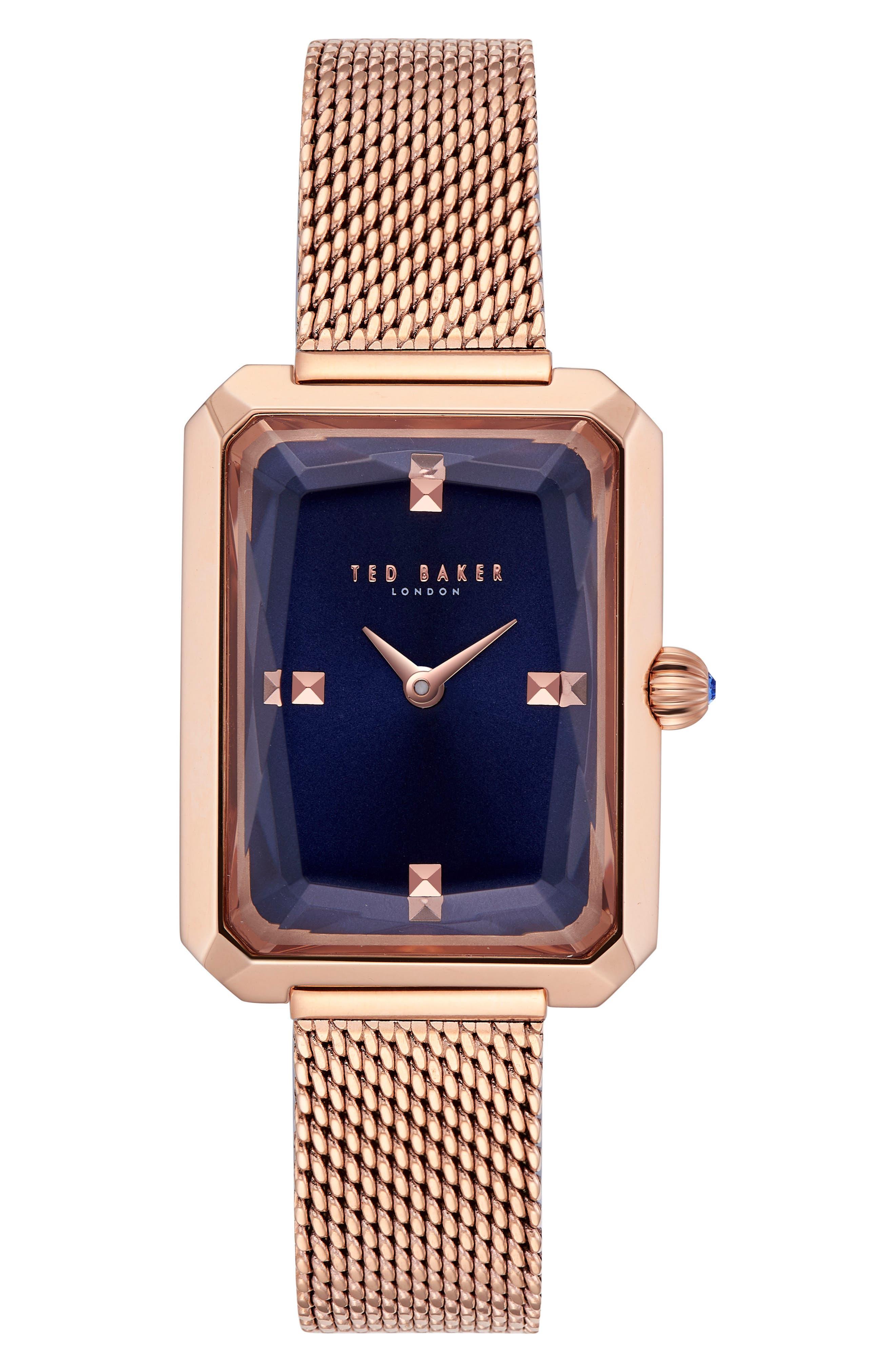 Cara Mesh Strap Watch, 22mm,                             Main thumbnail 1, color,                             Rose Gold/ Blue/ Rose Gold