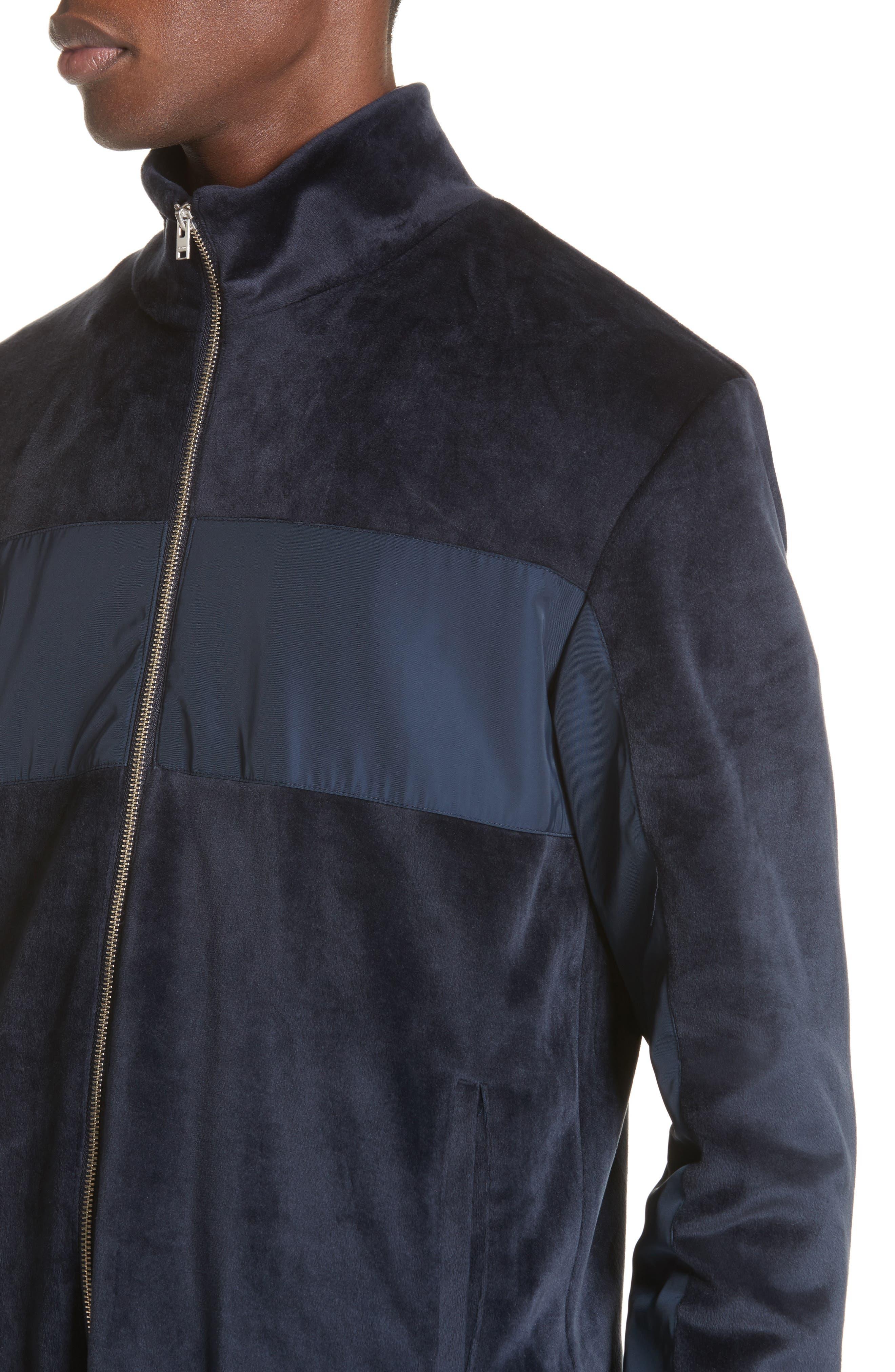 Headland Velour Track Jacket,                             Alternate thumbnail 4, color,                             Slate