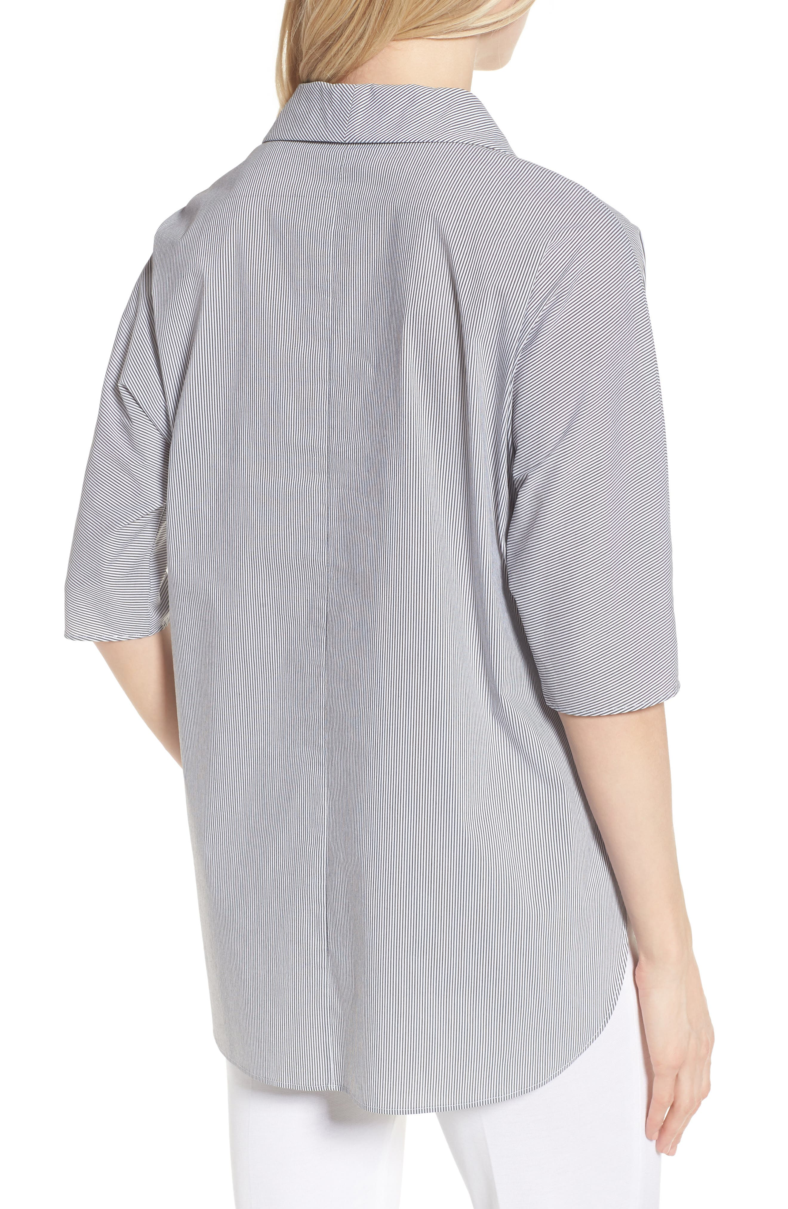 Stripe Tunic Shirt,                             Alternate thumbnail 2, color,                             Black/ White
