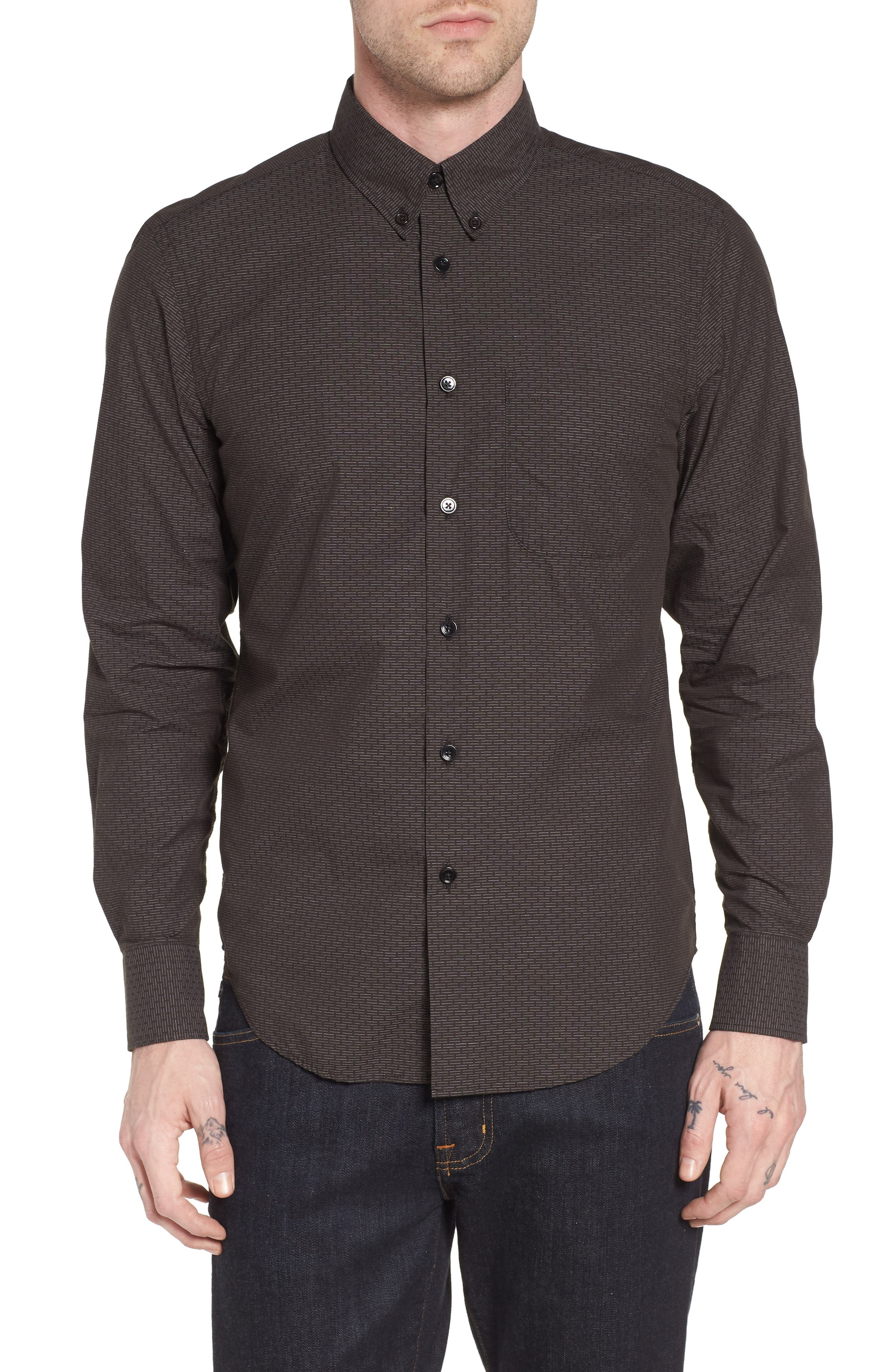 Naked & Famous Dobby Woven Shirt,                         Main,                         color, Black