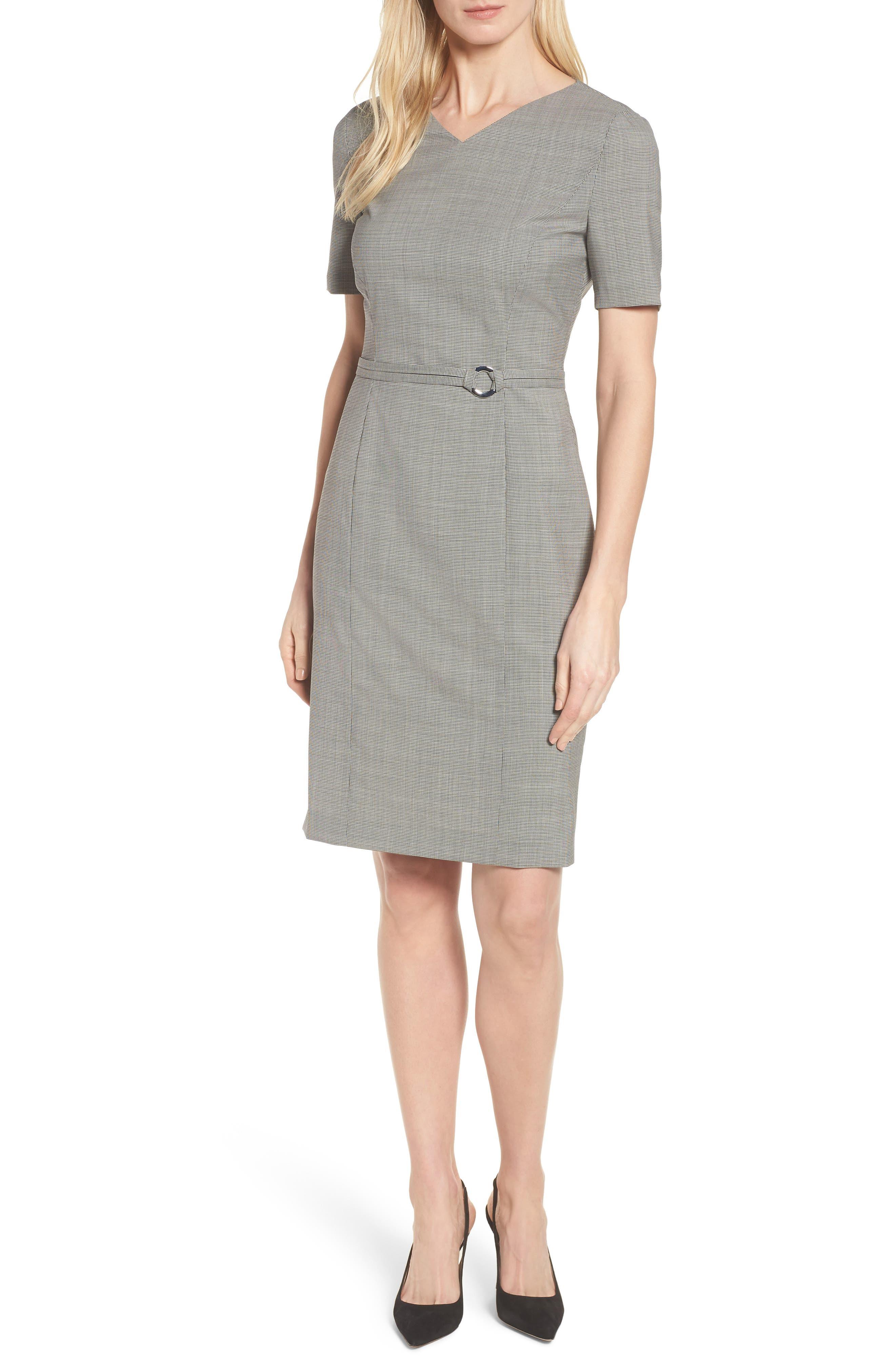 Davilla Stretch Wool Sheath Dress,                         Main,                         color, Black Fantasy
