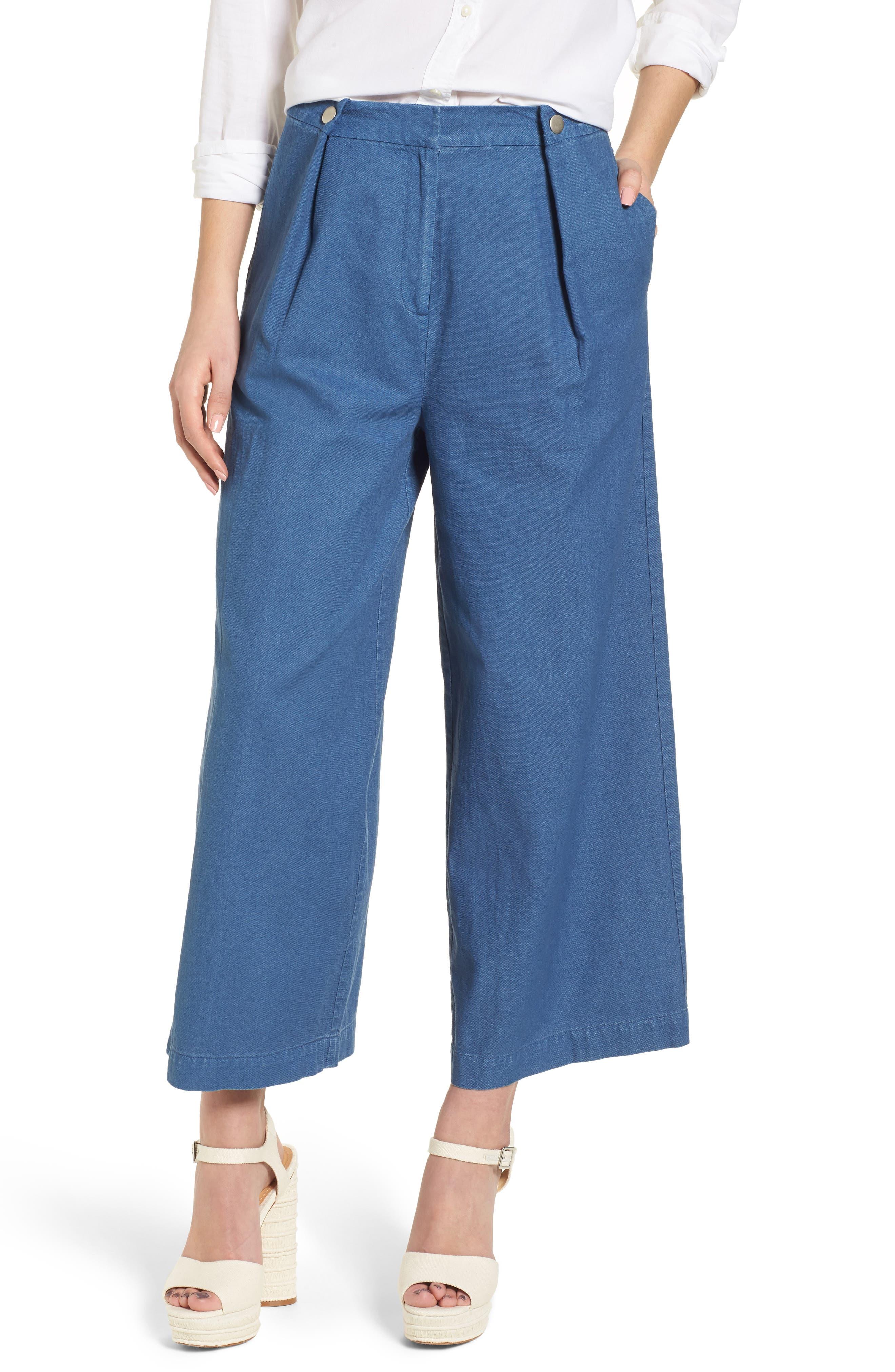 J.O.A. Crop Wide Leg Chambray Pants