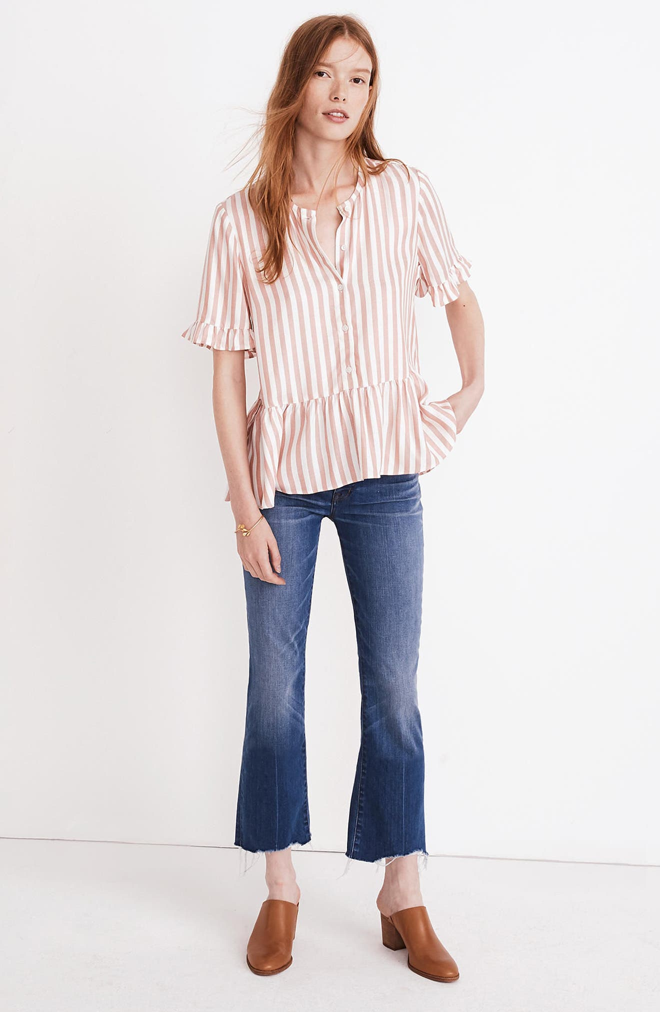 Studio Ruffle Hem Top,                             Alternate thumbnail 3, color,                             Neat Stripe Dried Coral