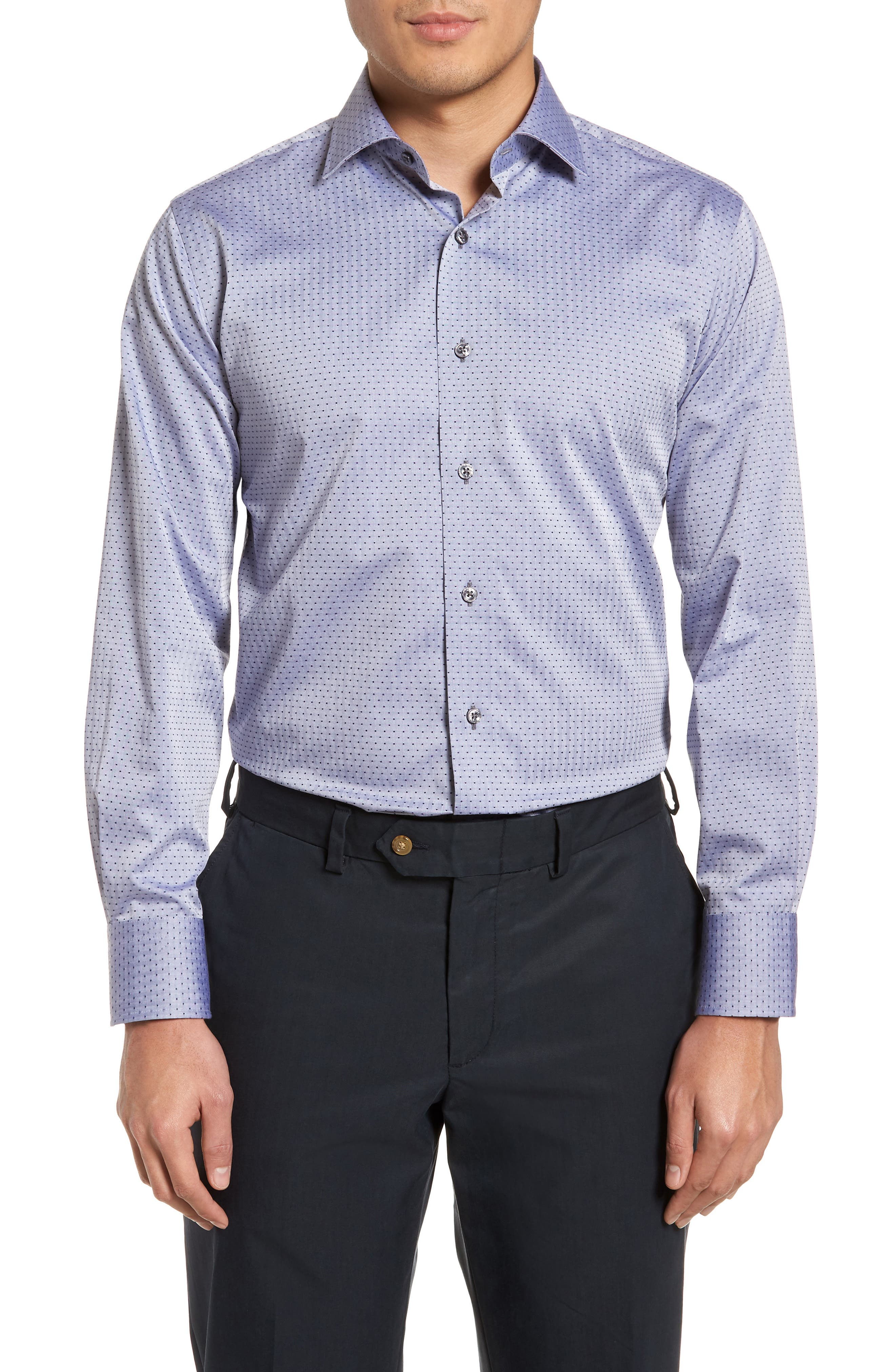 Pin Dot Dress Shirt,                             Main thumbnail 1, color,                             Navy/ Grey