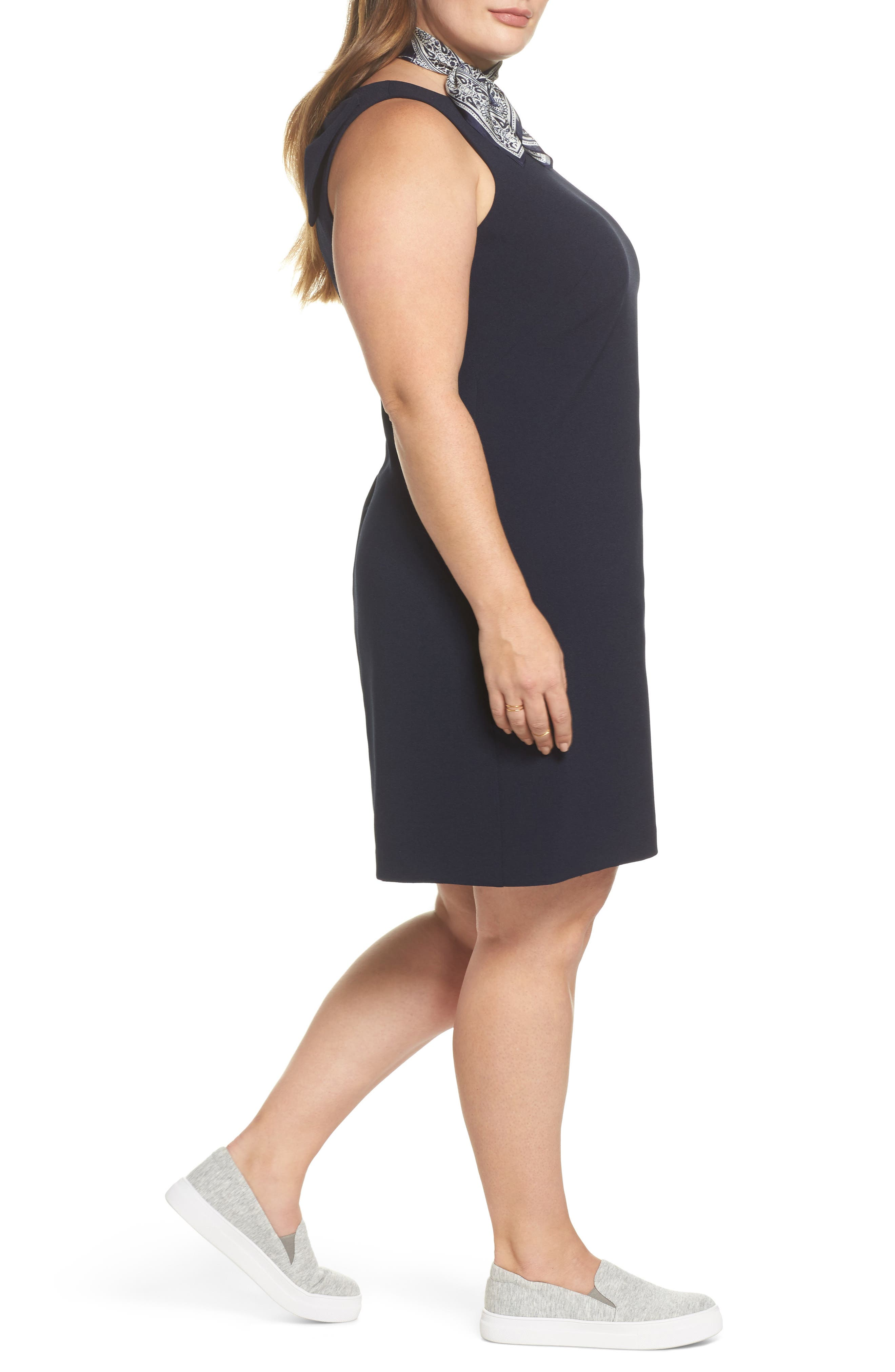 Bow Back Shift Dress,                             Alternate thumbnail 3, color,                             Navy