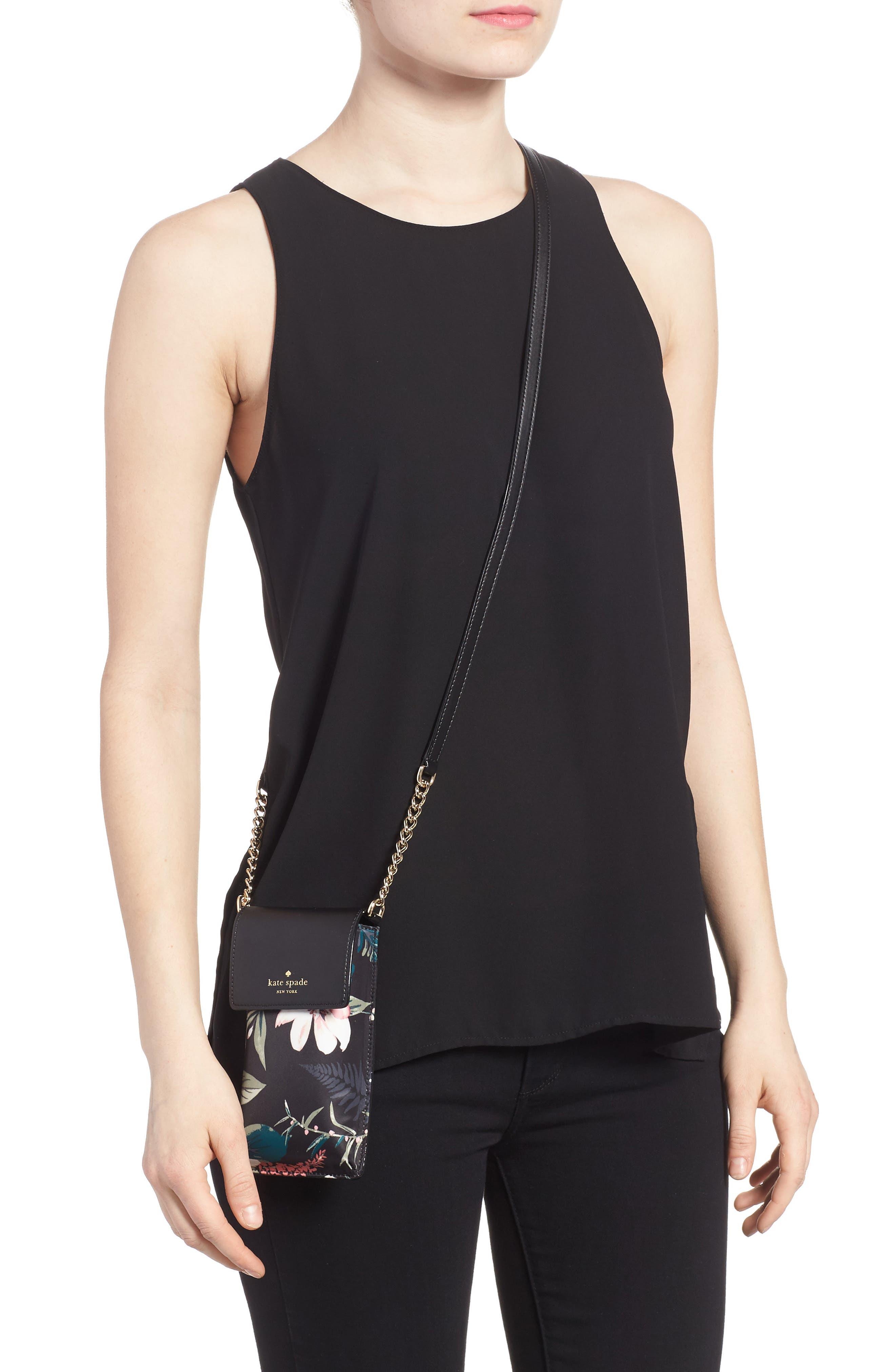 botanical print leather phone crossbody bag,                             Alternate thumbnail 3, color,                             Black Multi