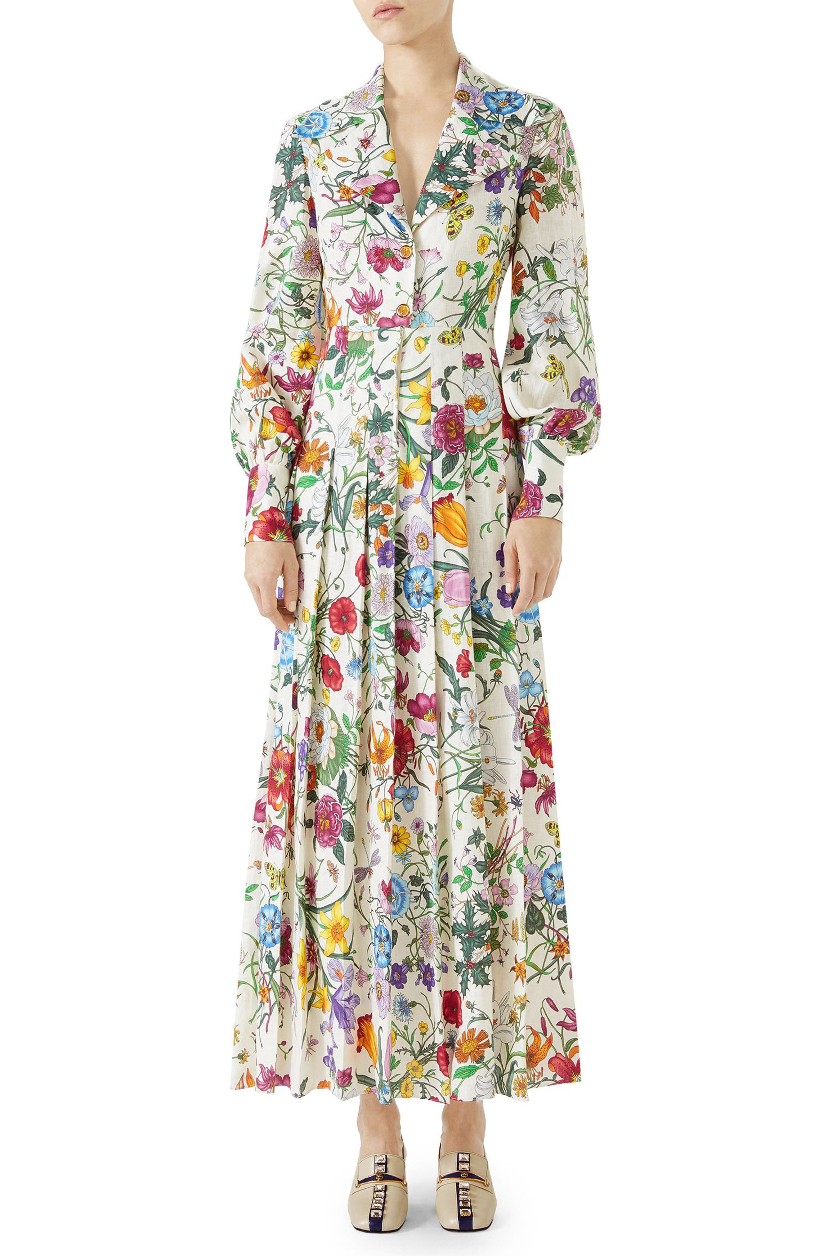 Puff Sleeve Pleated Silk Dress,                         Main,                         color, Ivory/ Multicolor Print