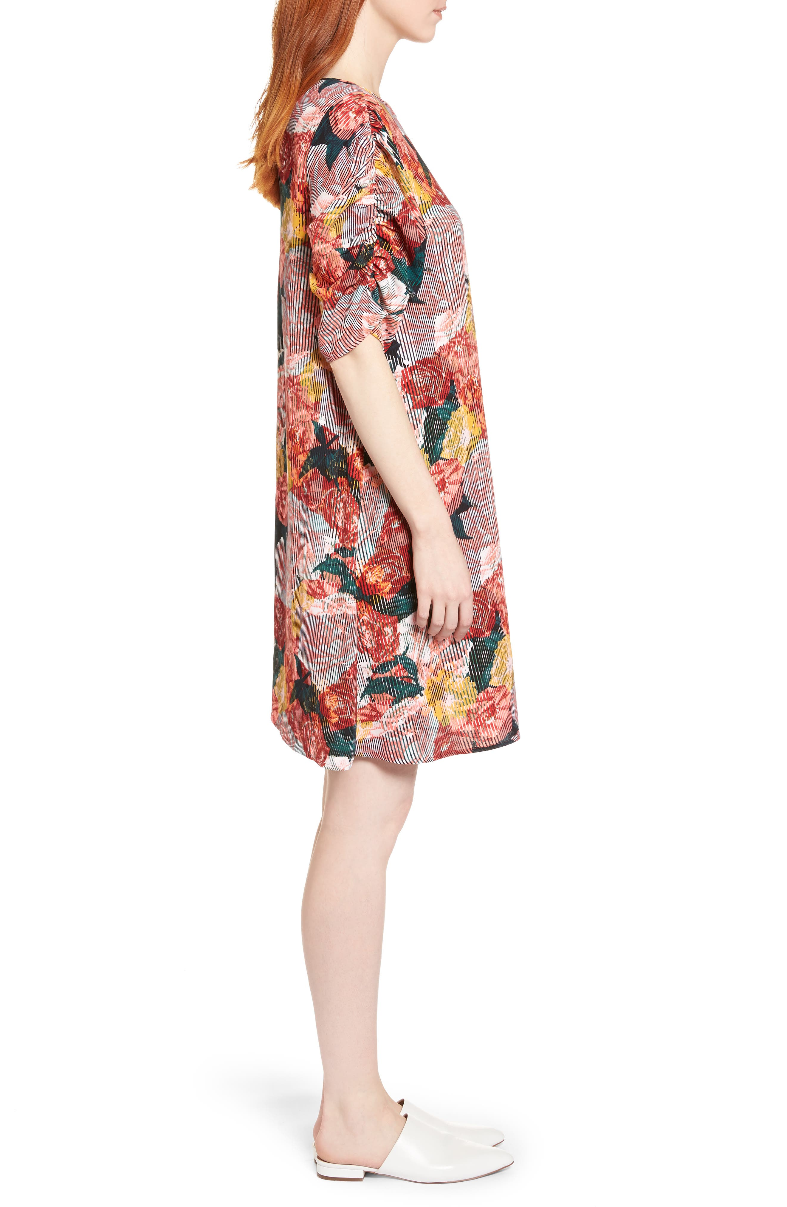 Ruched Sleeve Crepe Dress,                             Alternate thumbnail 3, color,                             Coral Fragment Floral