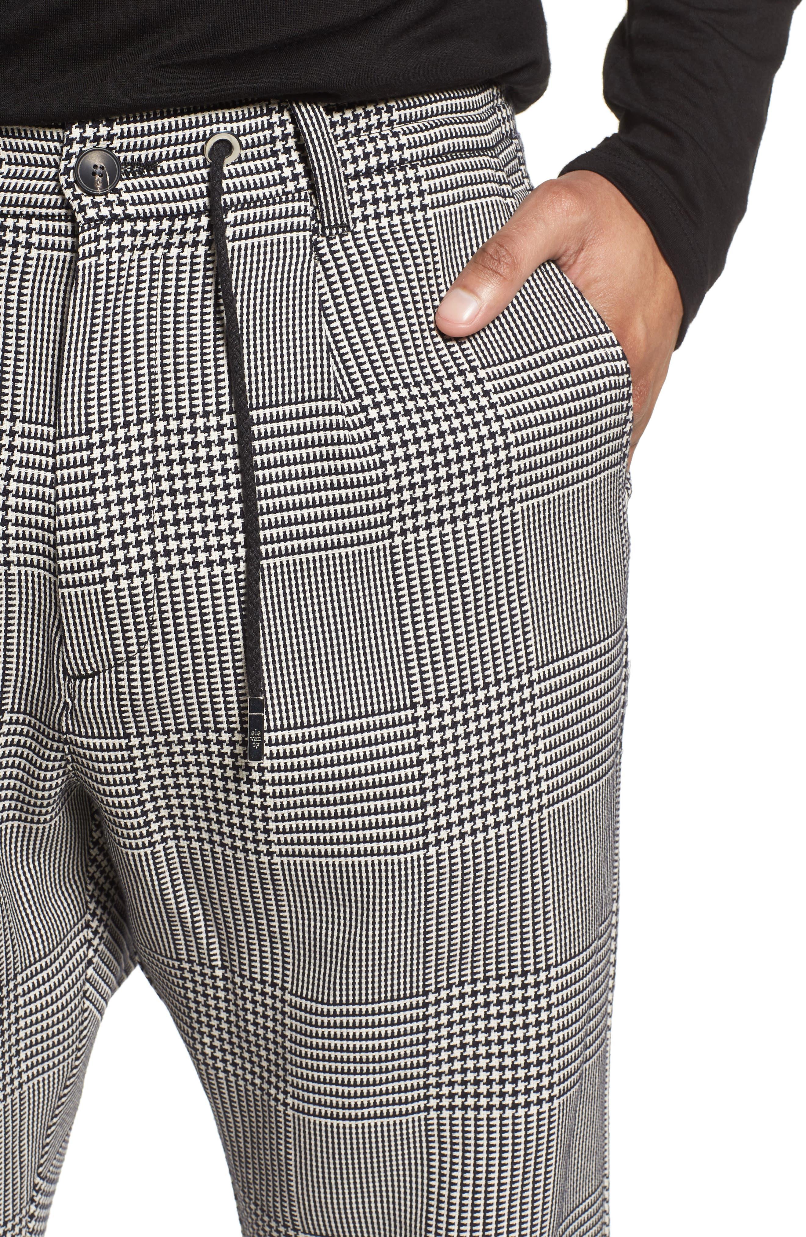 Prince of Wales Check Jogger Pants,                             Alternate thumbnail 4, color,                             Blk/White