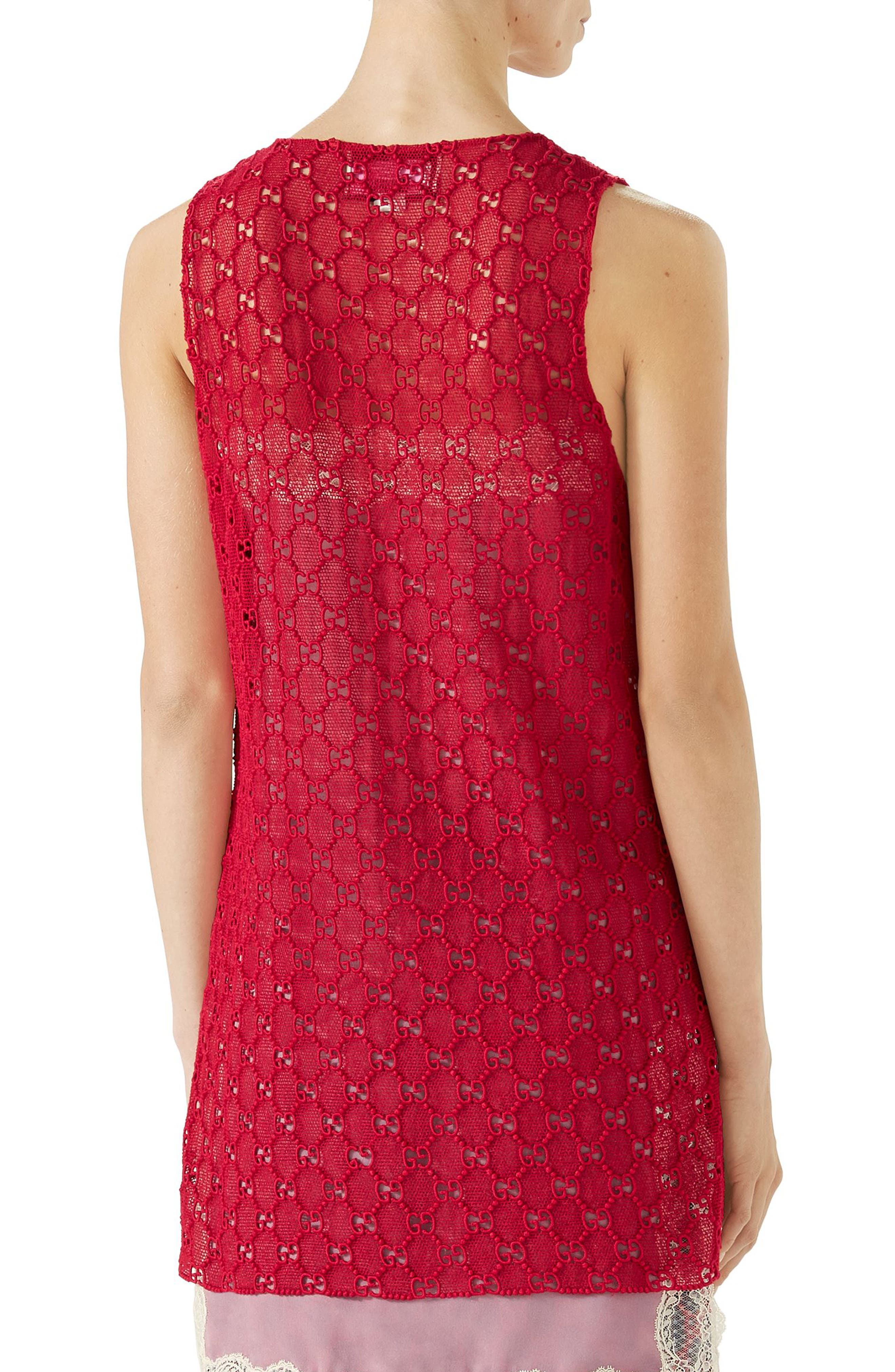 GG Macramé Top,                             Alternate thumbnail 2, color,                             Heather Red/ Ortensia