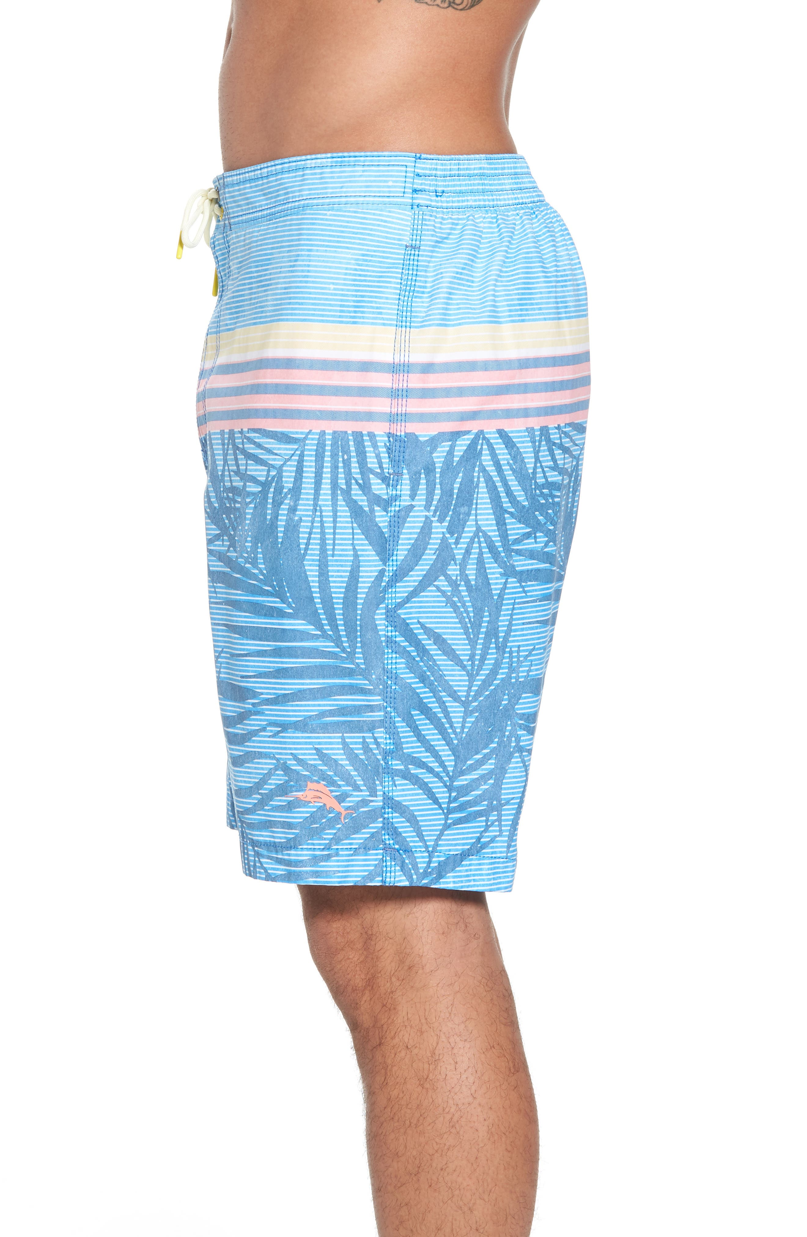 Baja Fronds & Stripes Board Shorts,                             Alternate thumbnail 3, color,                             Dockside Blue